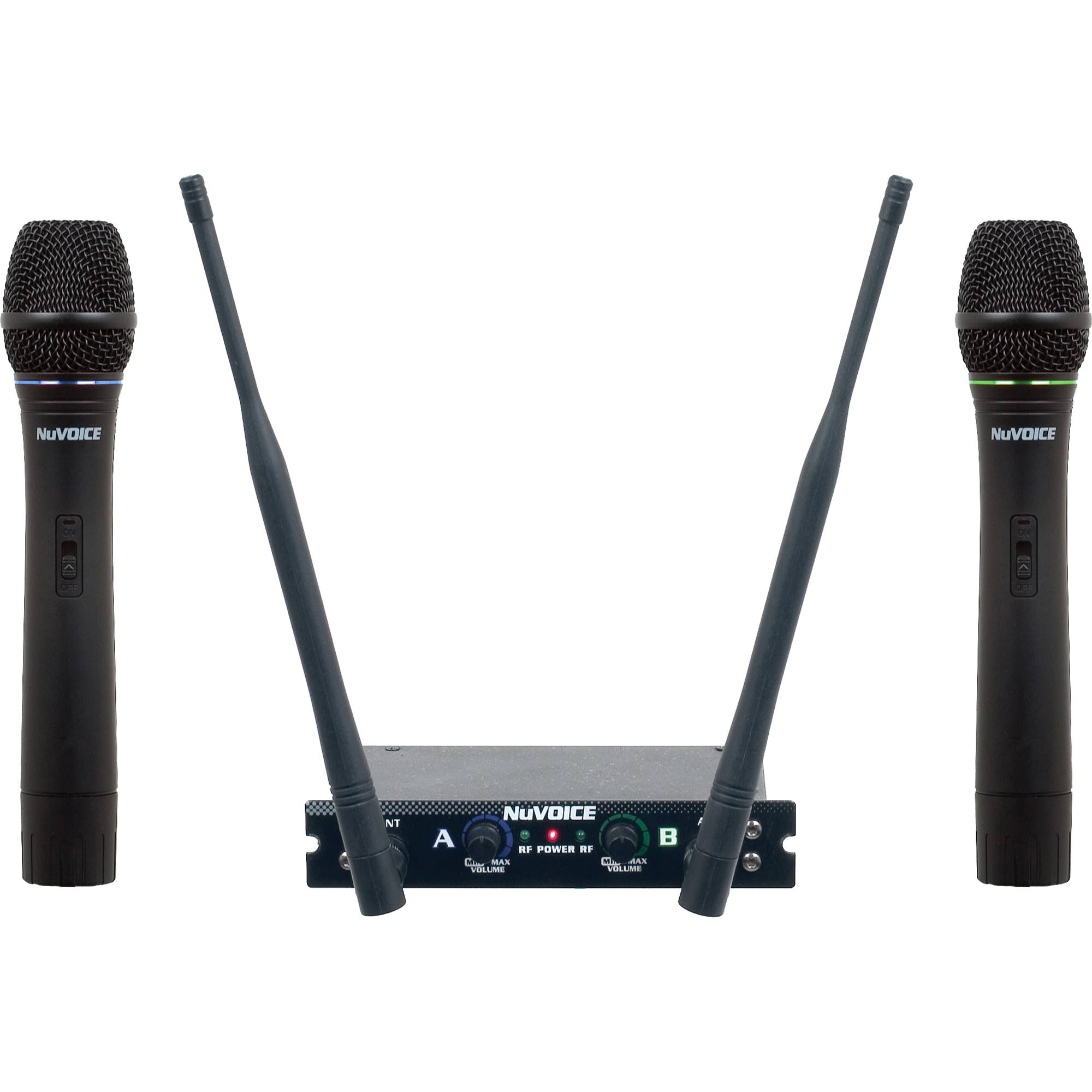 nuvoice v 280 dual channel vhf wireless microphone system v 280. Black Bedroom Furniture Sets. Home Design Ideas