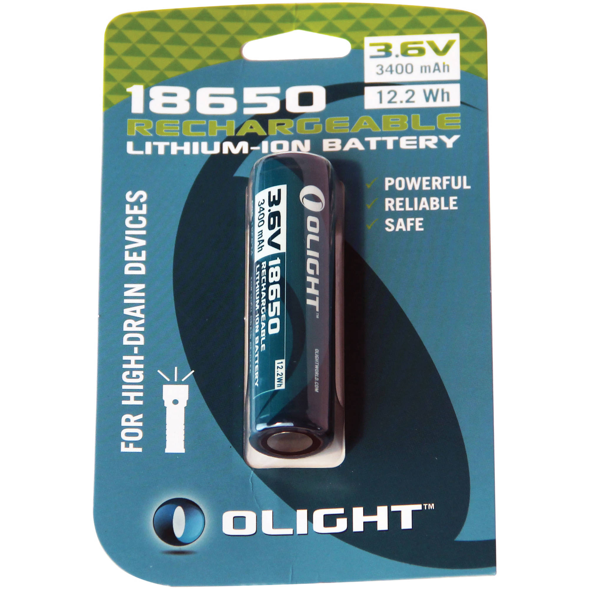 Olight 18650 Rechargeable Lithium Ion Battery 18650 3400mah Card