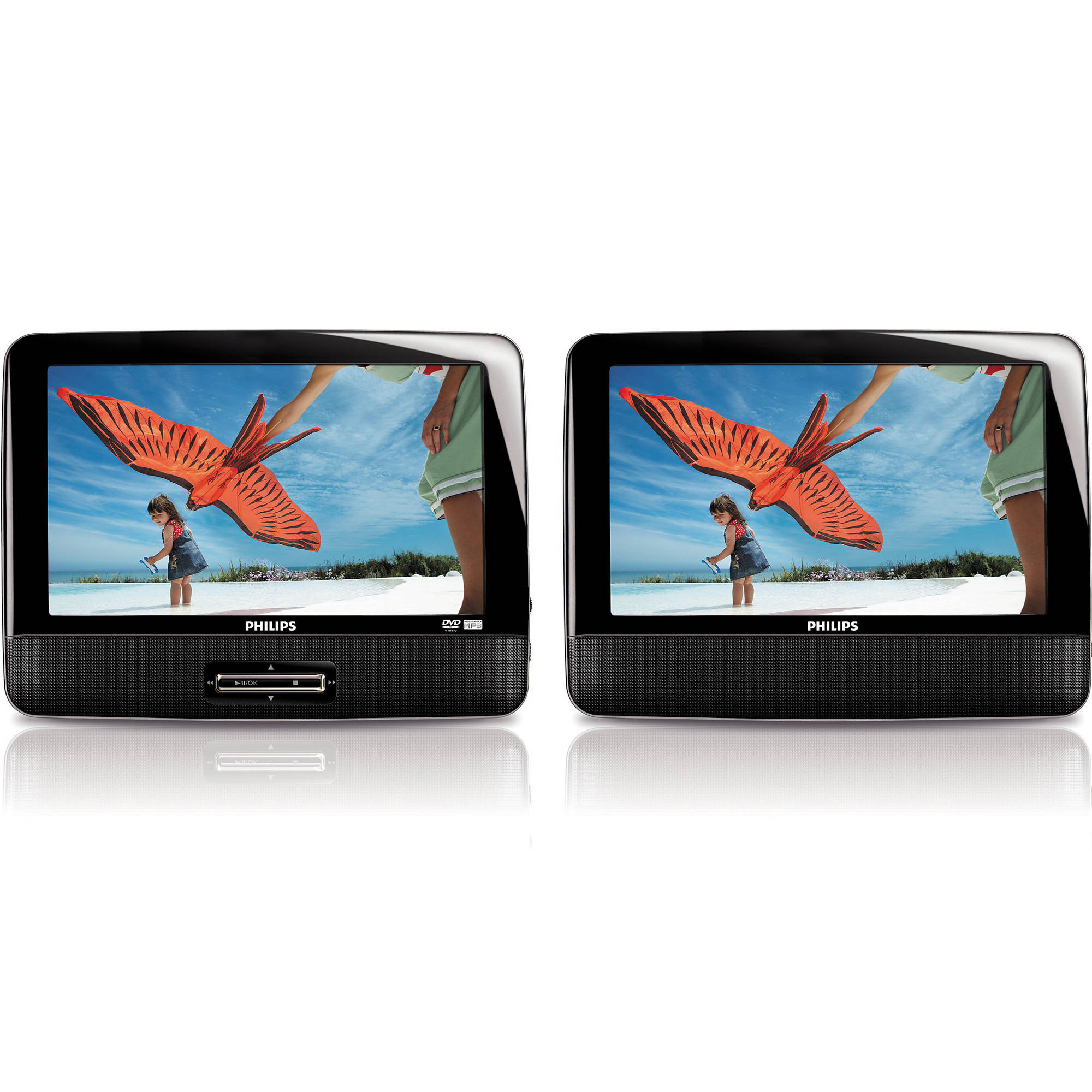 Philips 9inch Dual Screen Portable Dvd Player Black Pd9017