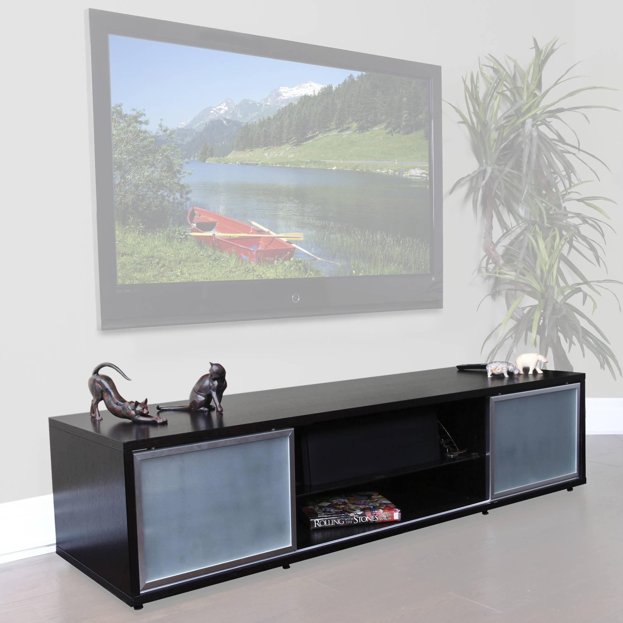 75 tv stand. PLATEAU SR-V 75 TV Stand (Espresso Finish, Silver Door Frames) Tv