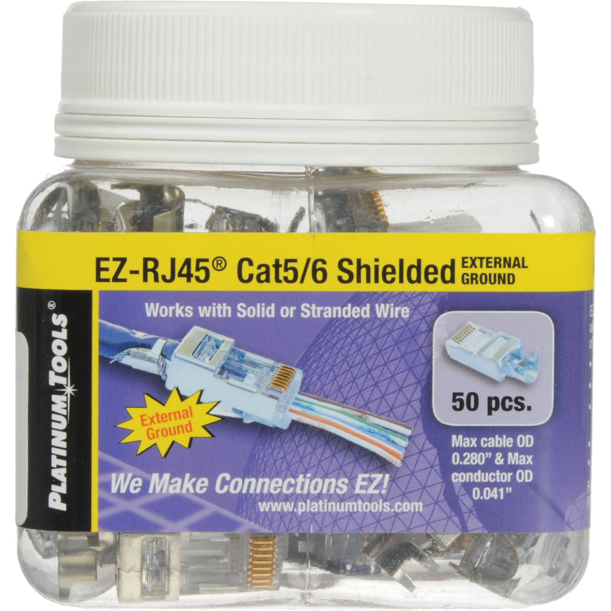 Platinum Tools Shielded Ez Rj45 Connectors For Cat5e 202022j Bh The Wiring Of Conductors To Has Also Been Established By Cat6 With External Ground Jar