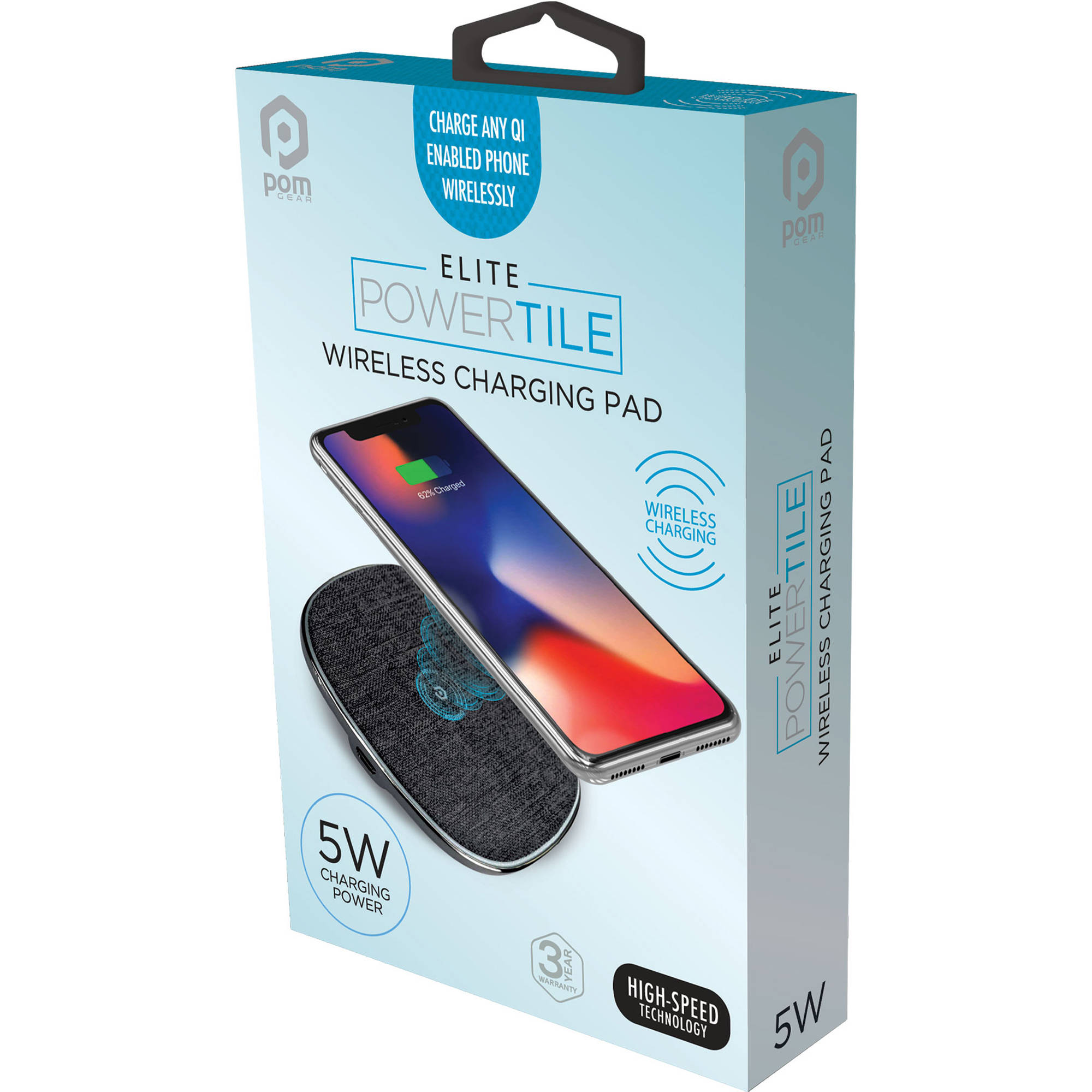 Pom Gear Elite Power Tile Qi Compatible Wireless C2g W5 Gy B Amp H
