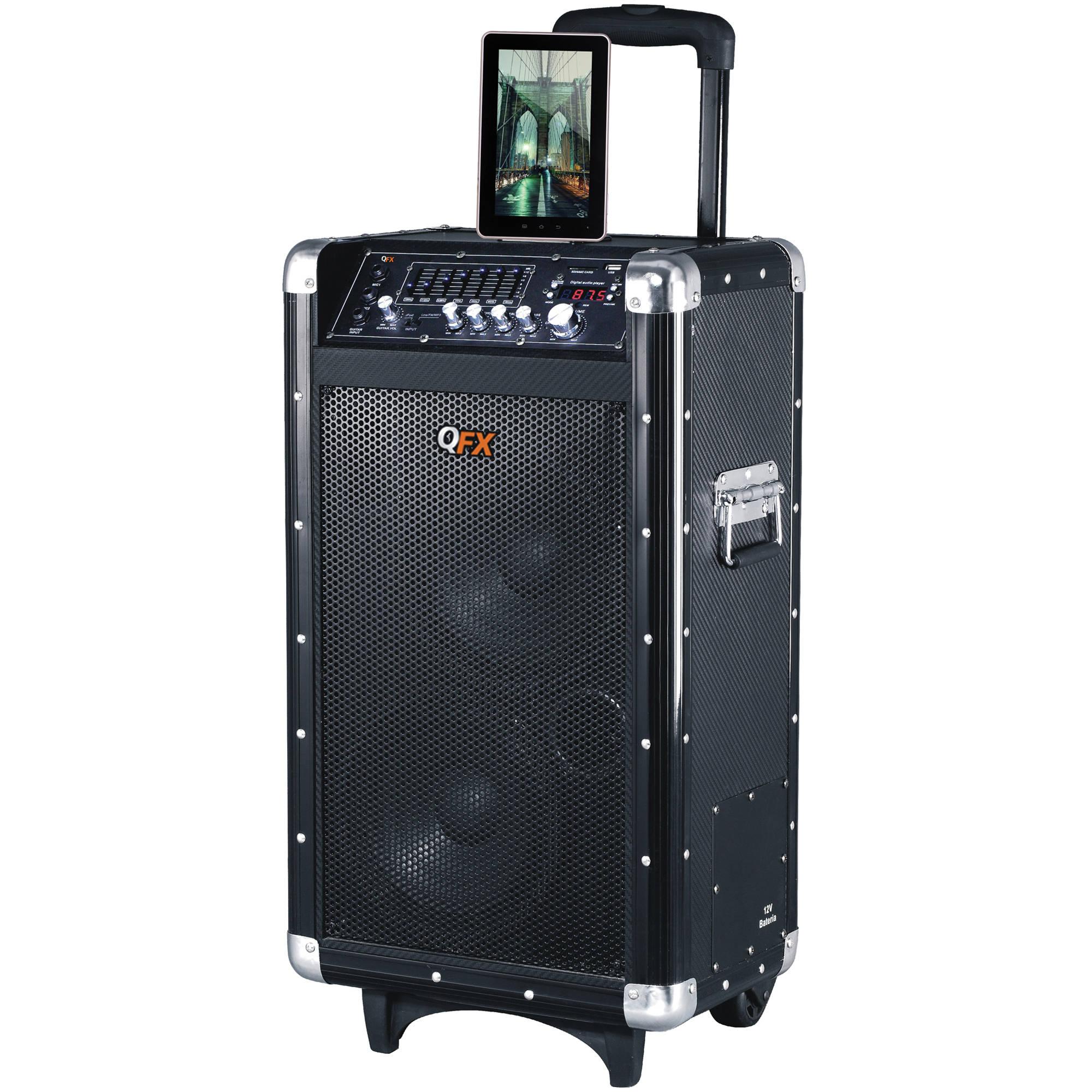 Qfx Pbx 3080bt Portable Bluetooth Pa Speaker Black Pbx