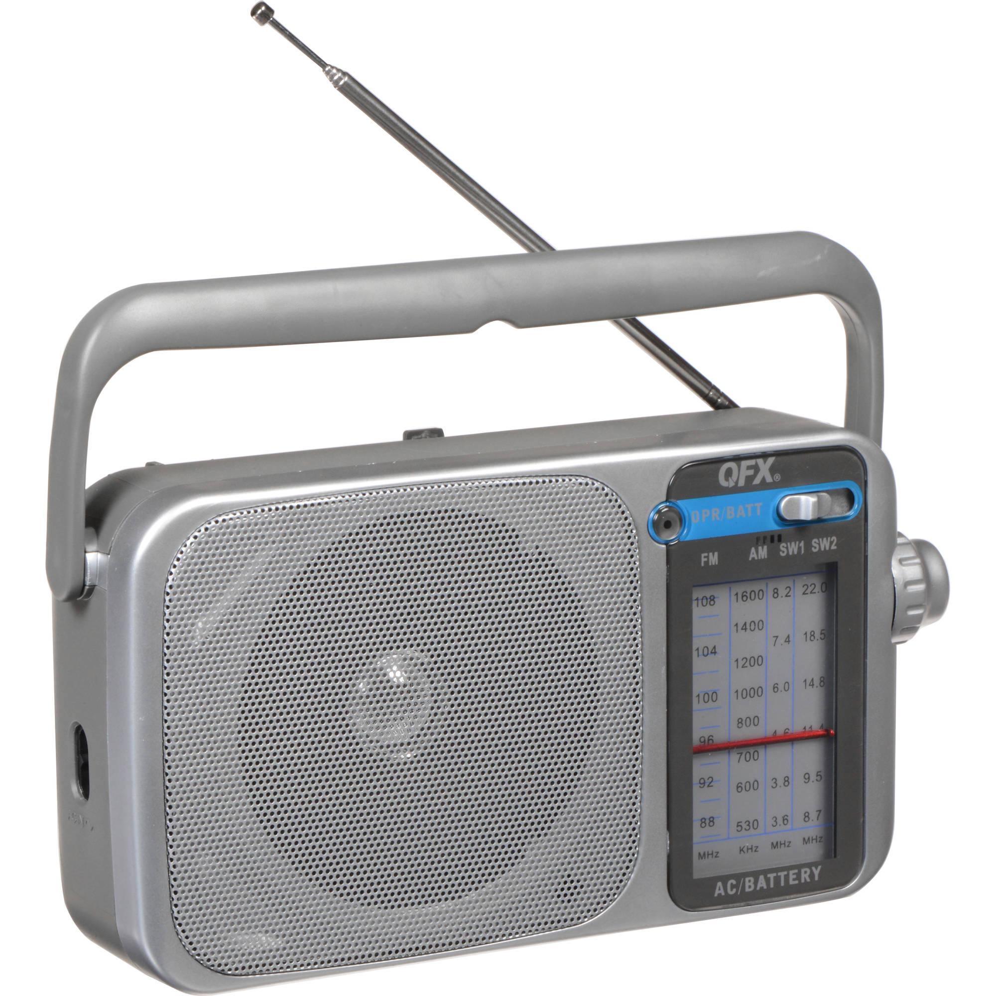 qfx r 24 portable am fm sw1 sw2 radio silver r 24 b h photo. Black Bedroom Furniture Sets. Home Design Ideas