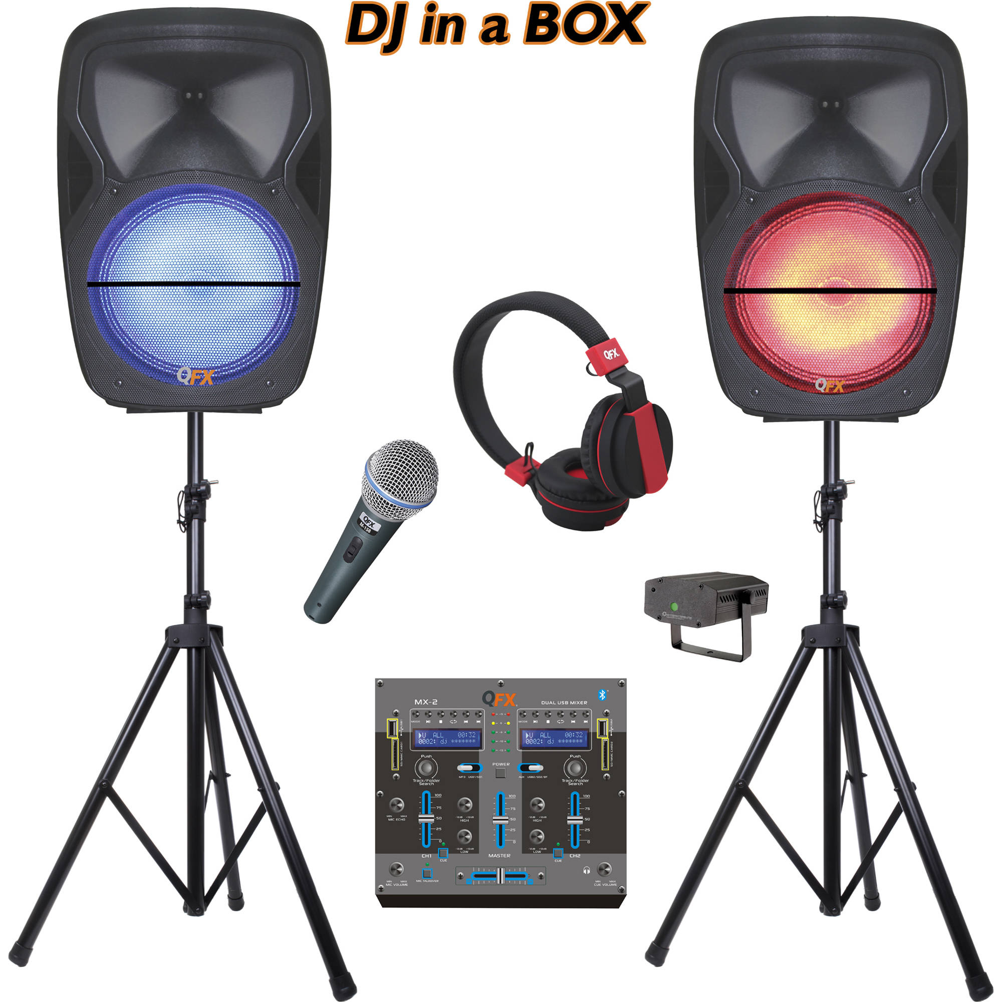 QFX Dual Portable Party Bluetooth Speakers With Mixer SM-215 B&H