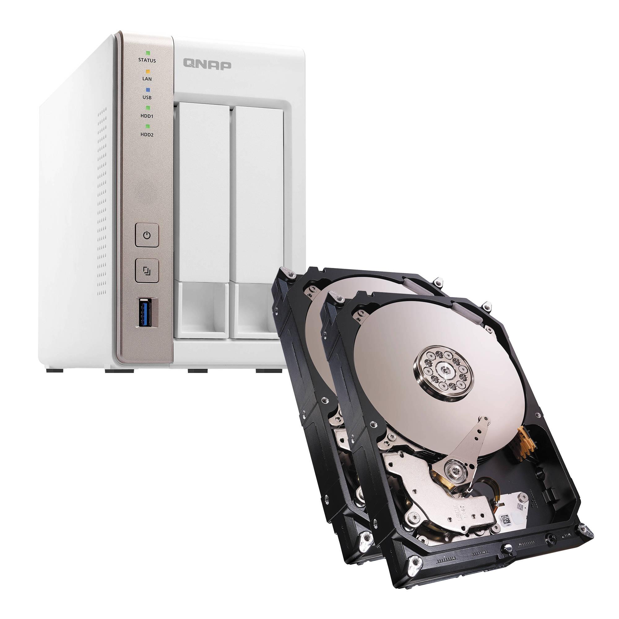 qnap ts 251 6tb 2 x 3tb 2 bay nas server kit with seagate nas