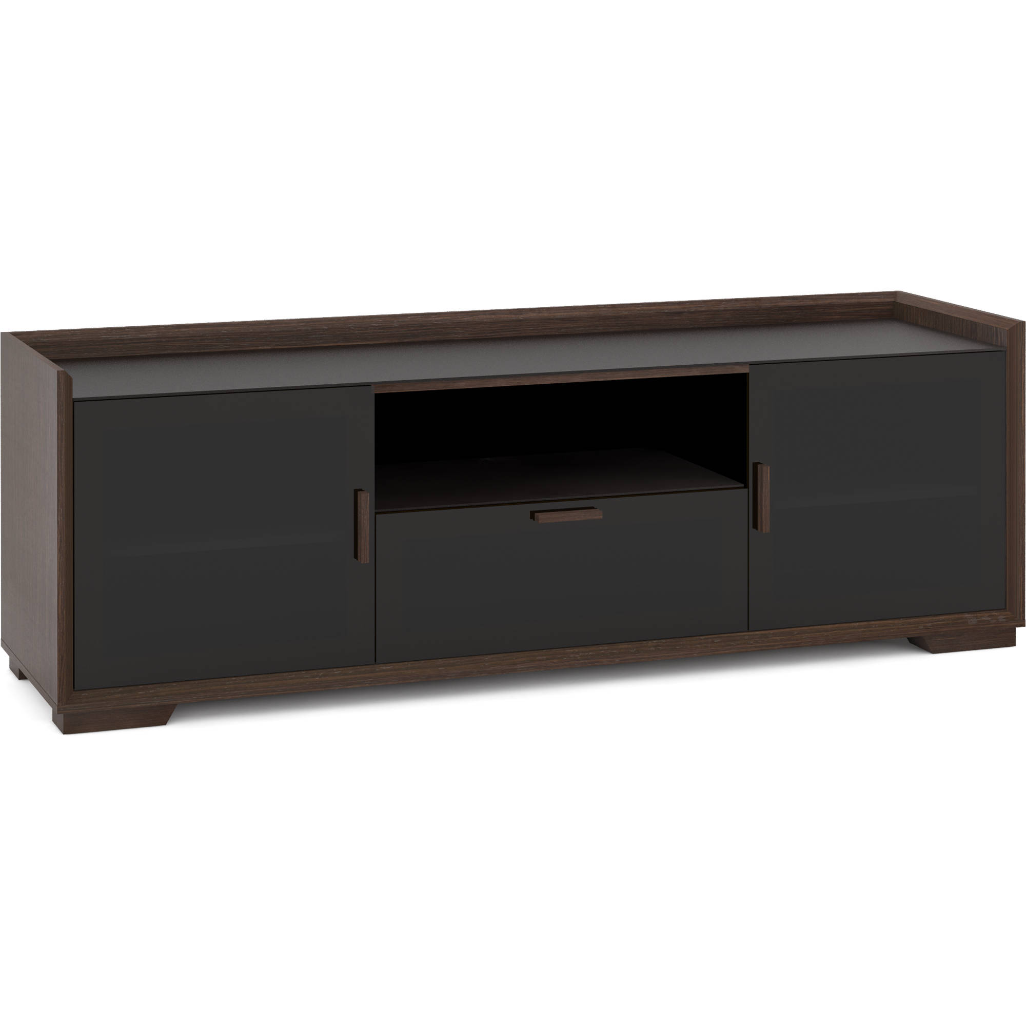 Audiovideo Cabinet In Wenge Espresso With Black Glass Doors 72 X 24 X 20