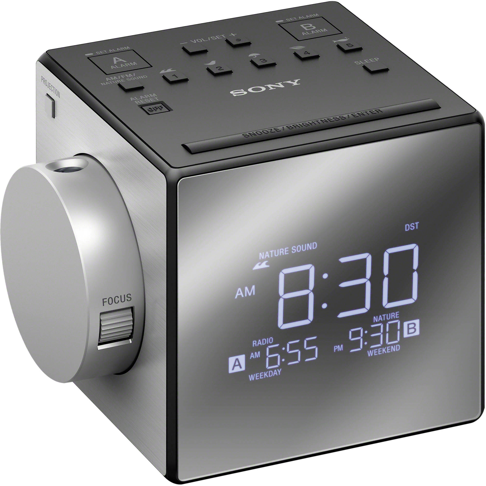 sony icf c1pj alarm clock radio with time projection icfc1pj b h. Black Bedroom Furniture Sets. Home Design Ideas