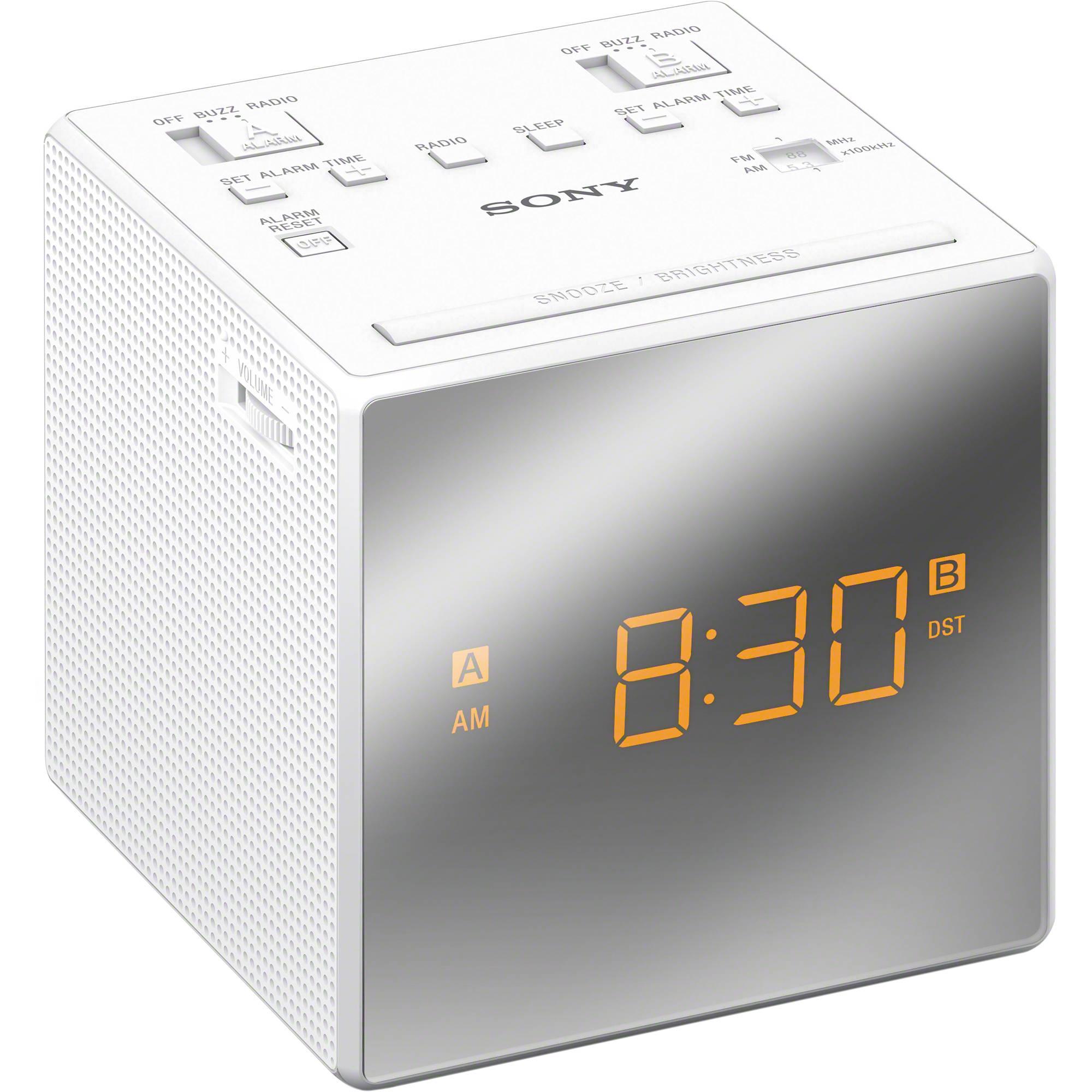 sony dual alarm clock radio white icfc1twhite b h photo. Black Bedroom Furniture Sets. Home Design Ideas