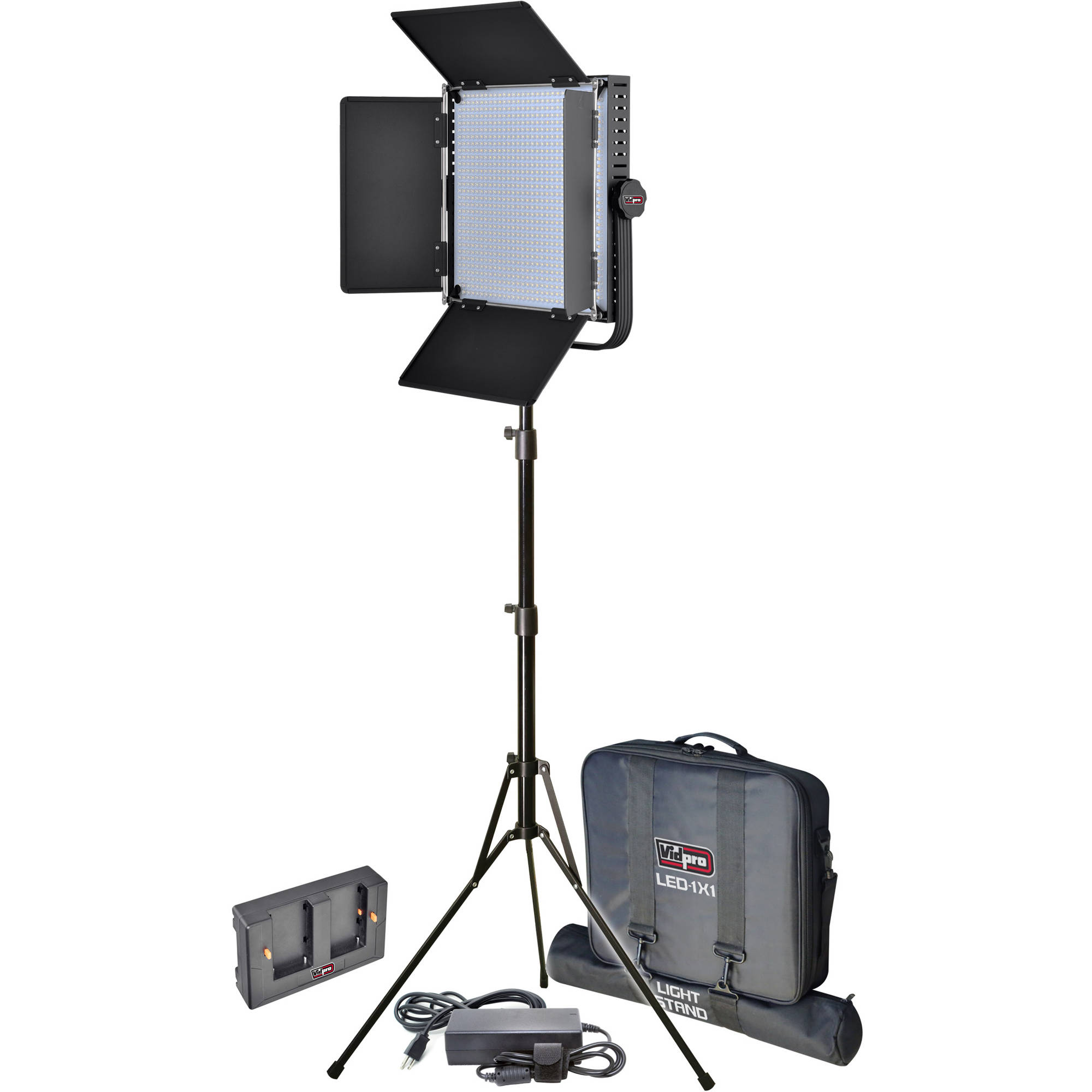 Vidpro led 1x1 pro studio light on audio adapter kit