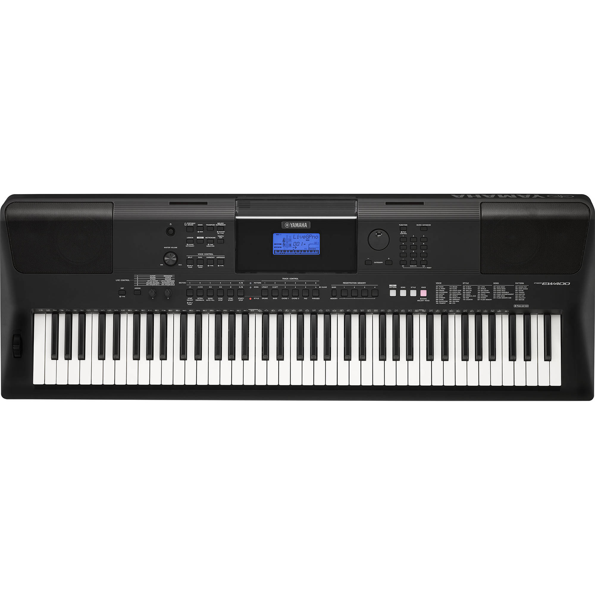 yamaha psr ew400 portable keyboard psrew400 b h photo video. Black Bedroom Furniture Sets. Home Design Ideas