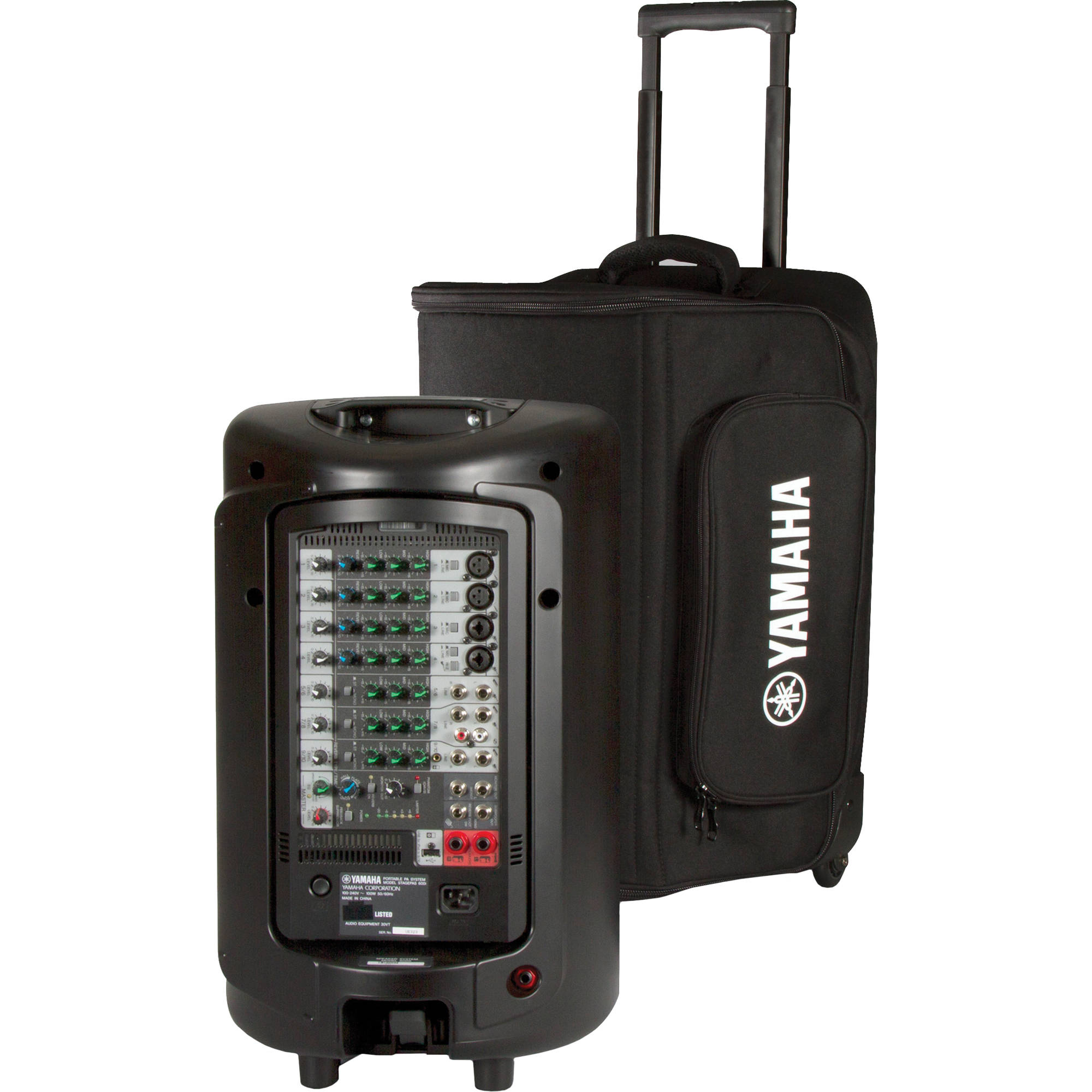 Yamaha soft rolling carry case for stagepas 600i ybsp600i b h for Yamaha 10 speaker