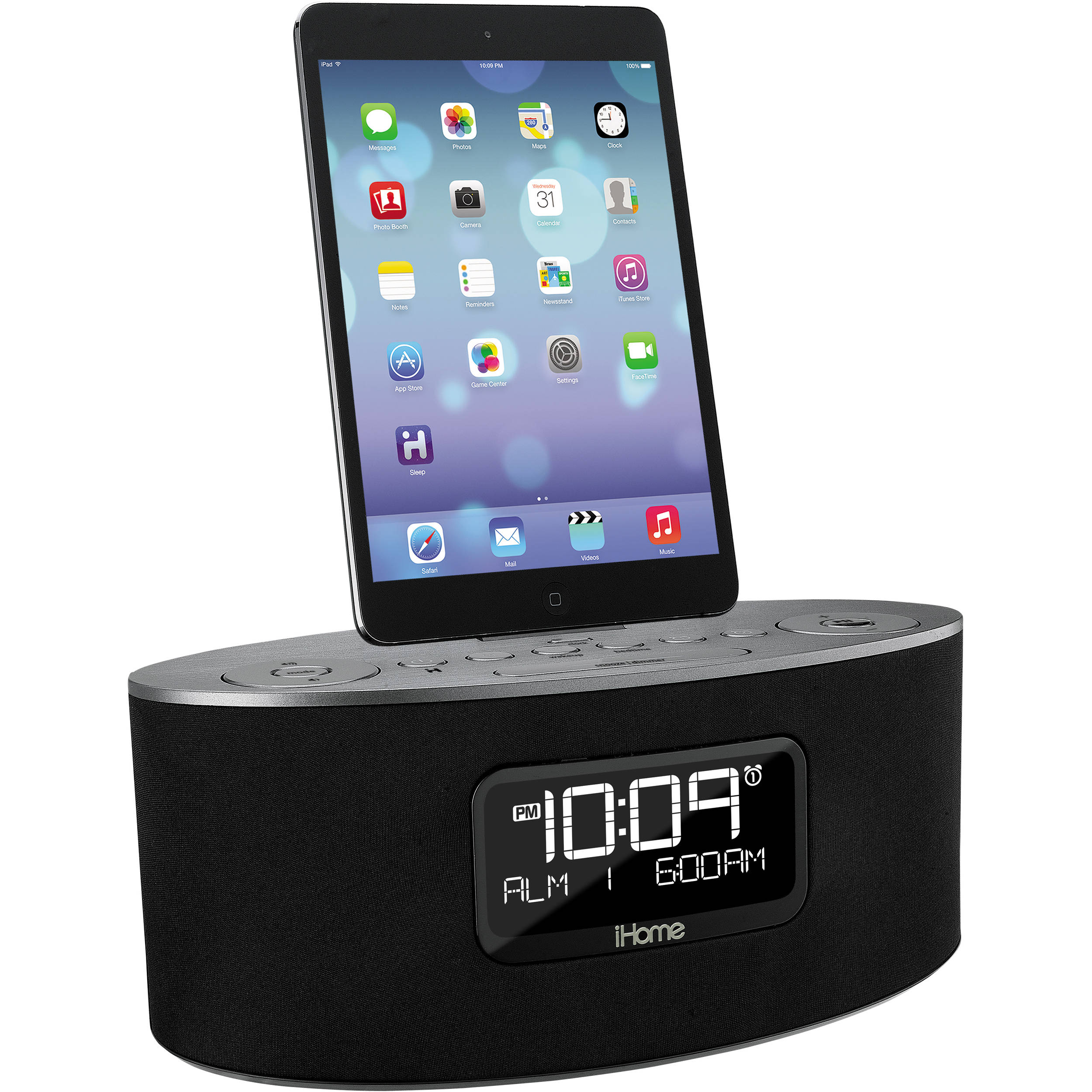ihome idl46 stereo dual alarm clock radio ipad iphone idl46gc. Black Bedroom Furniture Sets. Home Design Ideas