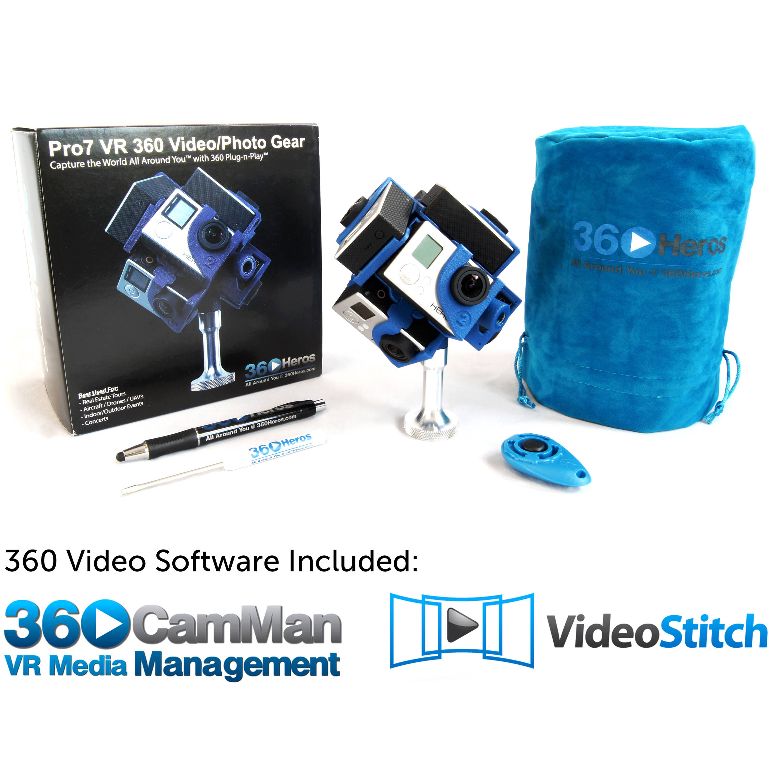 5ec5013ae5f 360RIZE Pro7 v2 360 Plug-n-Play Holder Kit with 360CamMan and Video-Stitch  Studio
