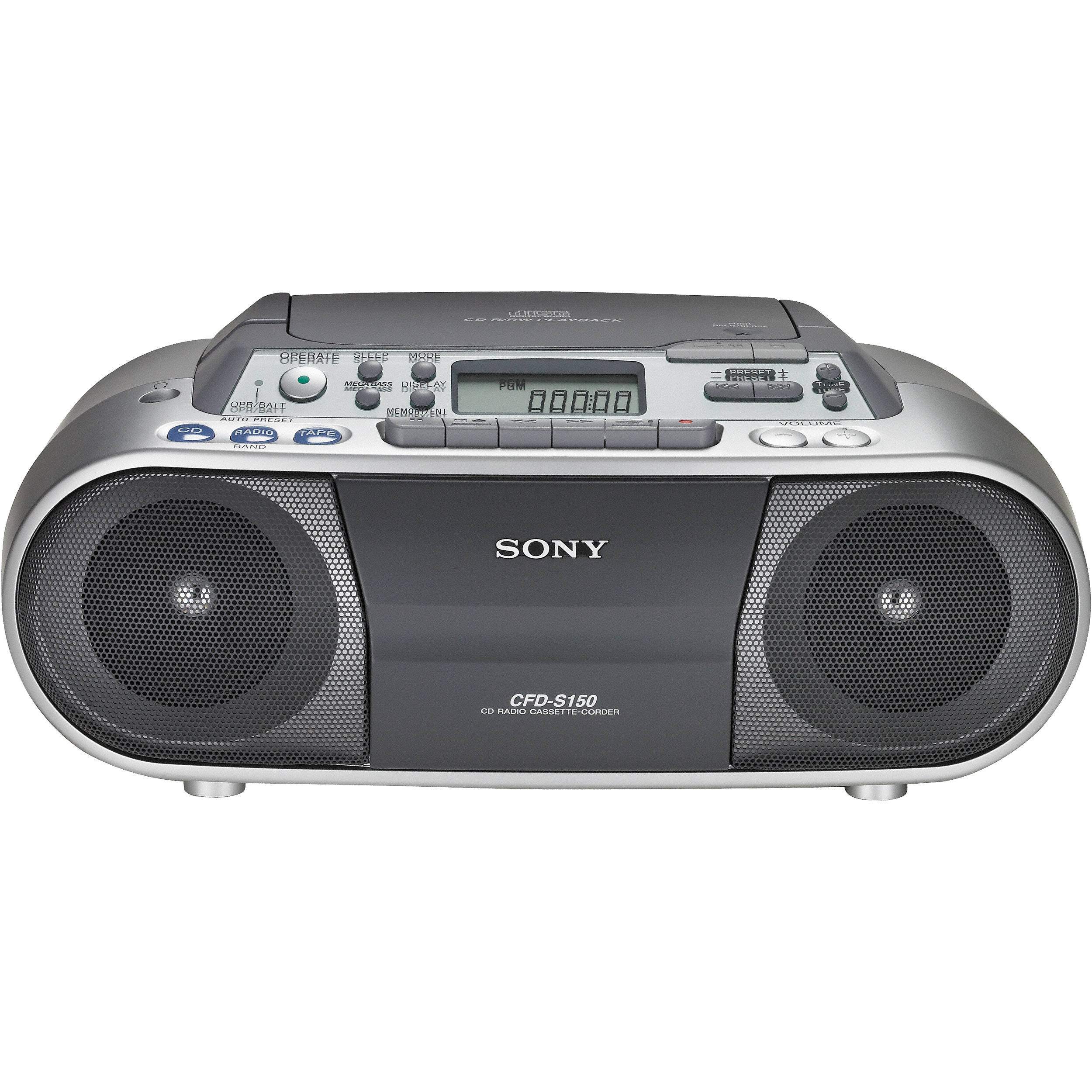 sony cfd s01 cd radio cassette recorder cfds01silver b h photo. Black Bedroom Furniture Sets. Home Design Ideas