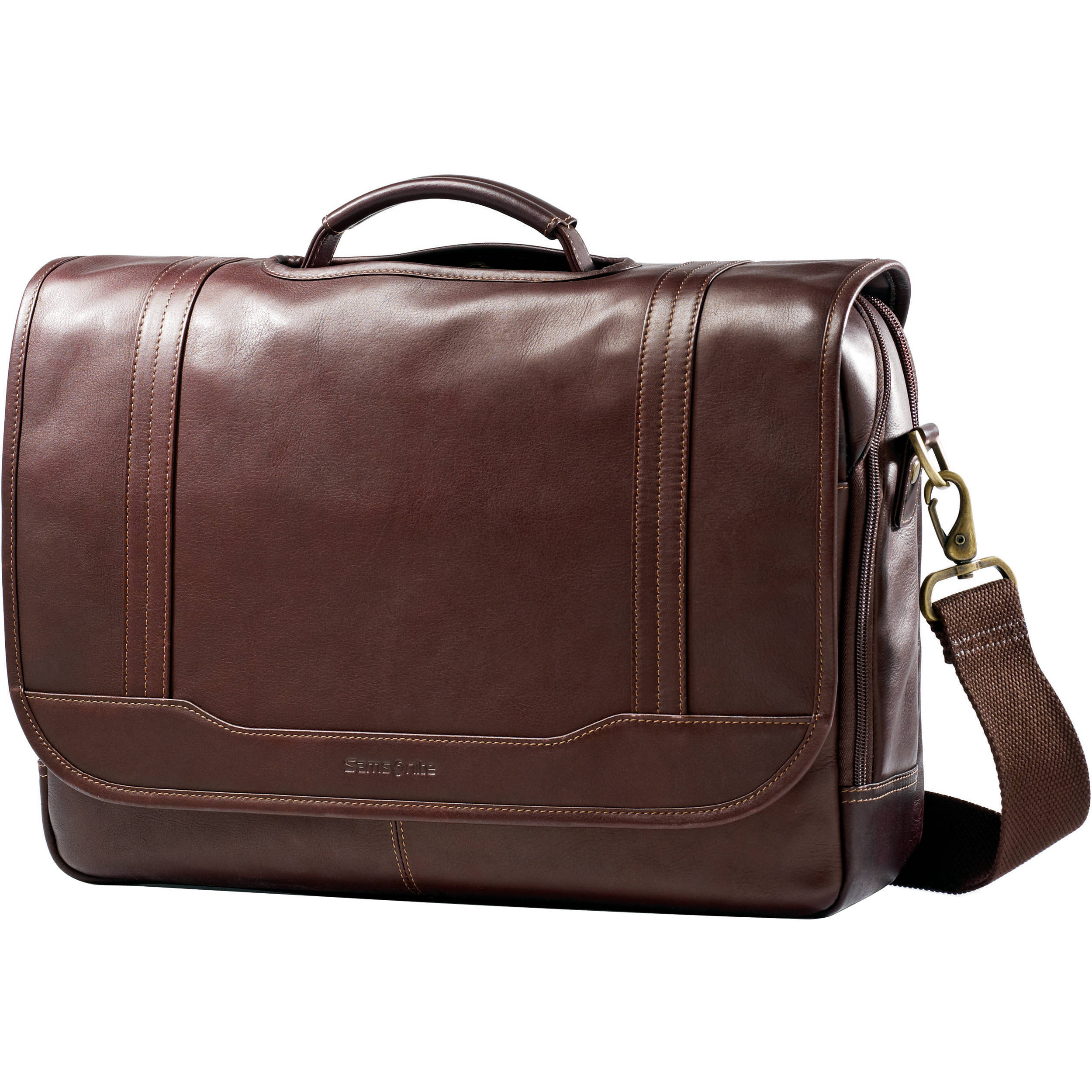 Samsonite Colombian Leather Flapover Briefcase 50789-1139 B&H