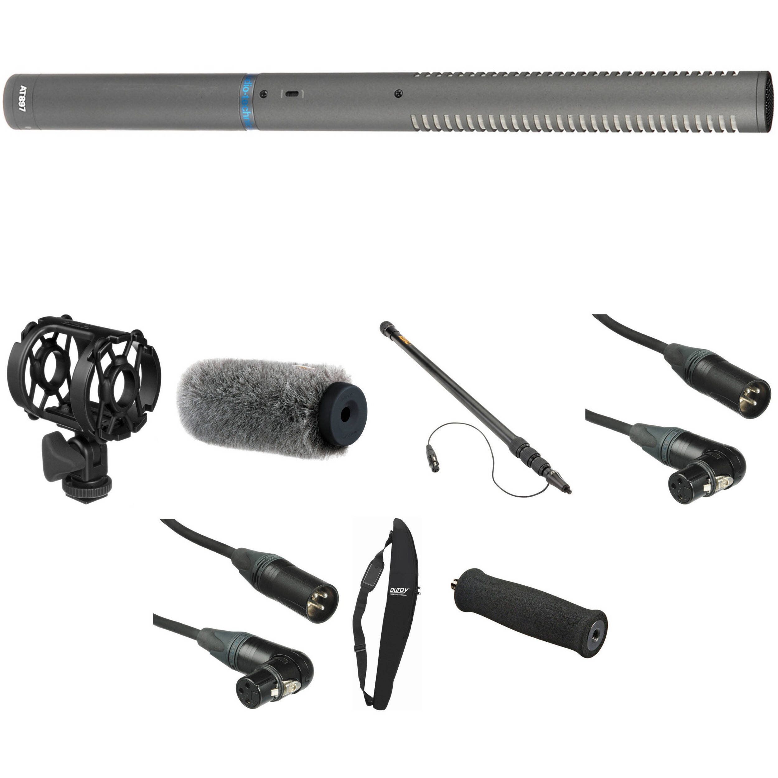 audio technica at 897 shotgun microphone basic kit at897bk b h. Black Bedroom Furniture Sets. Home Design Ideas