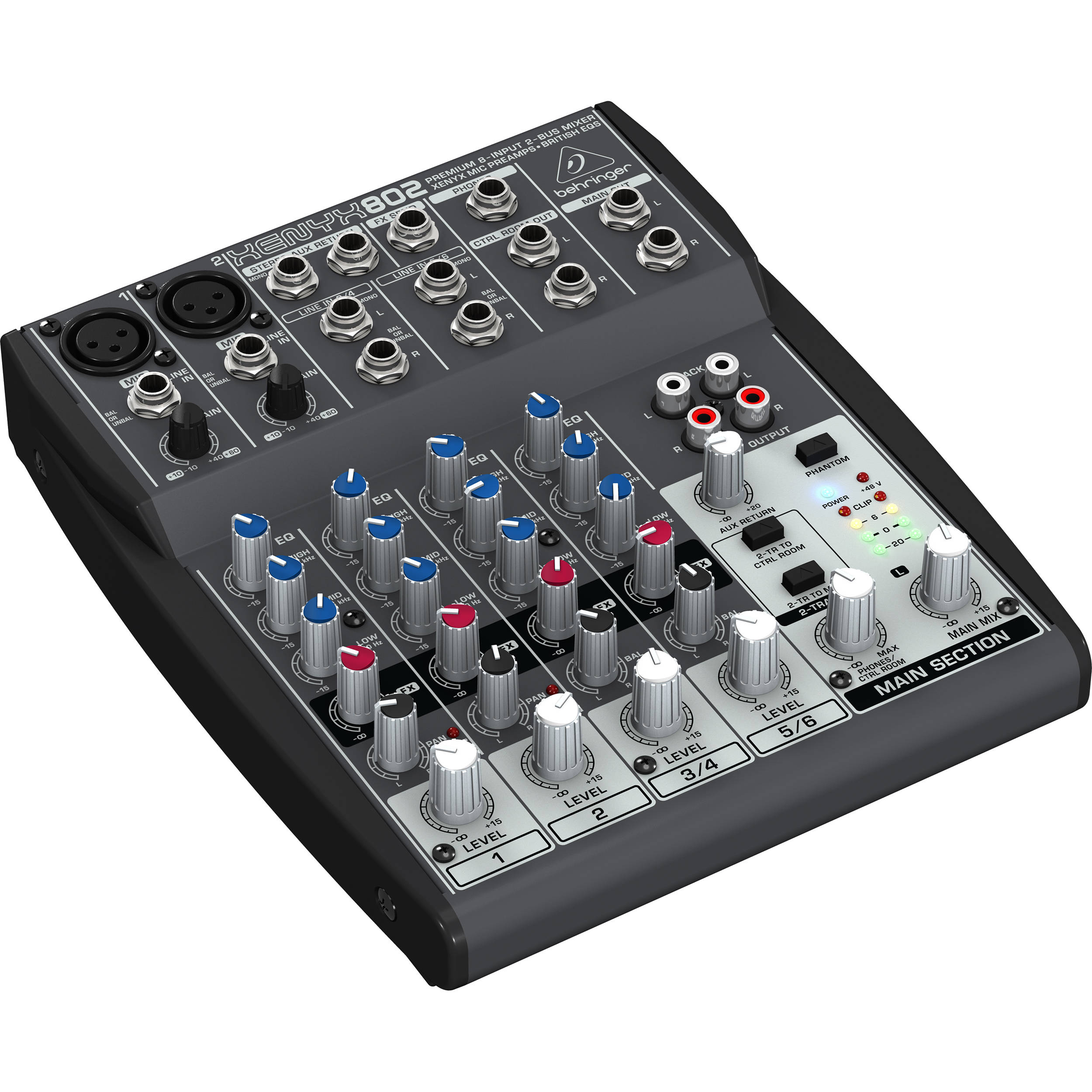behringer xenyx 802 8 channel compact audio mixer 802 b h photo. Black Bedroom Furniture Sets. Home Design Ideas