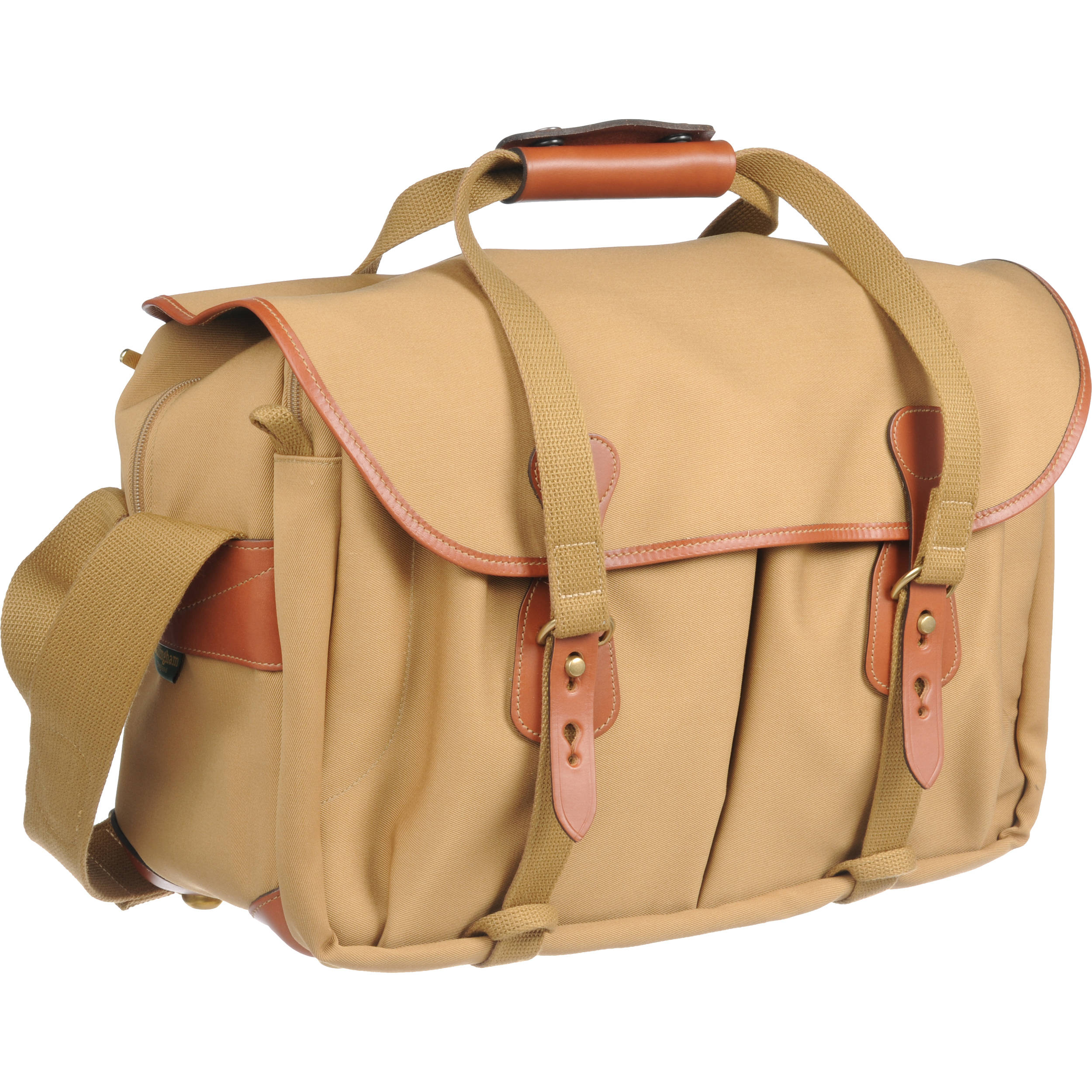 Billingham 445 Shoulder Bag Khaki Canvas With Tan Leather Trim