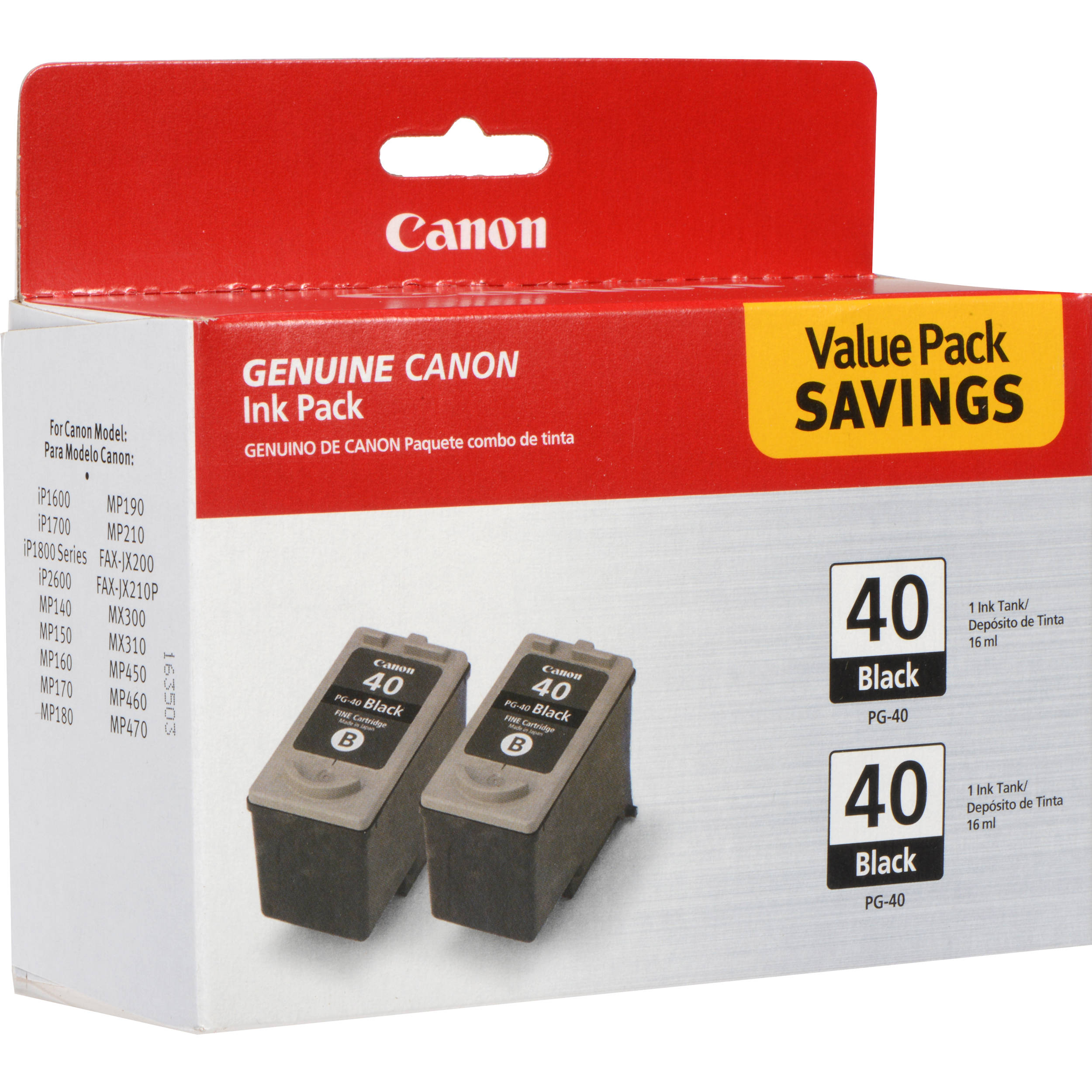 canon pg 40 black ink for ip1600 2 0615b013 b h photo video. Black Bedroom Furniture Sets. Home Design Ideas