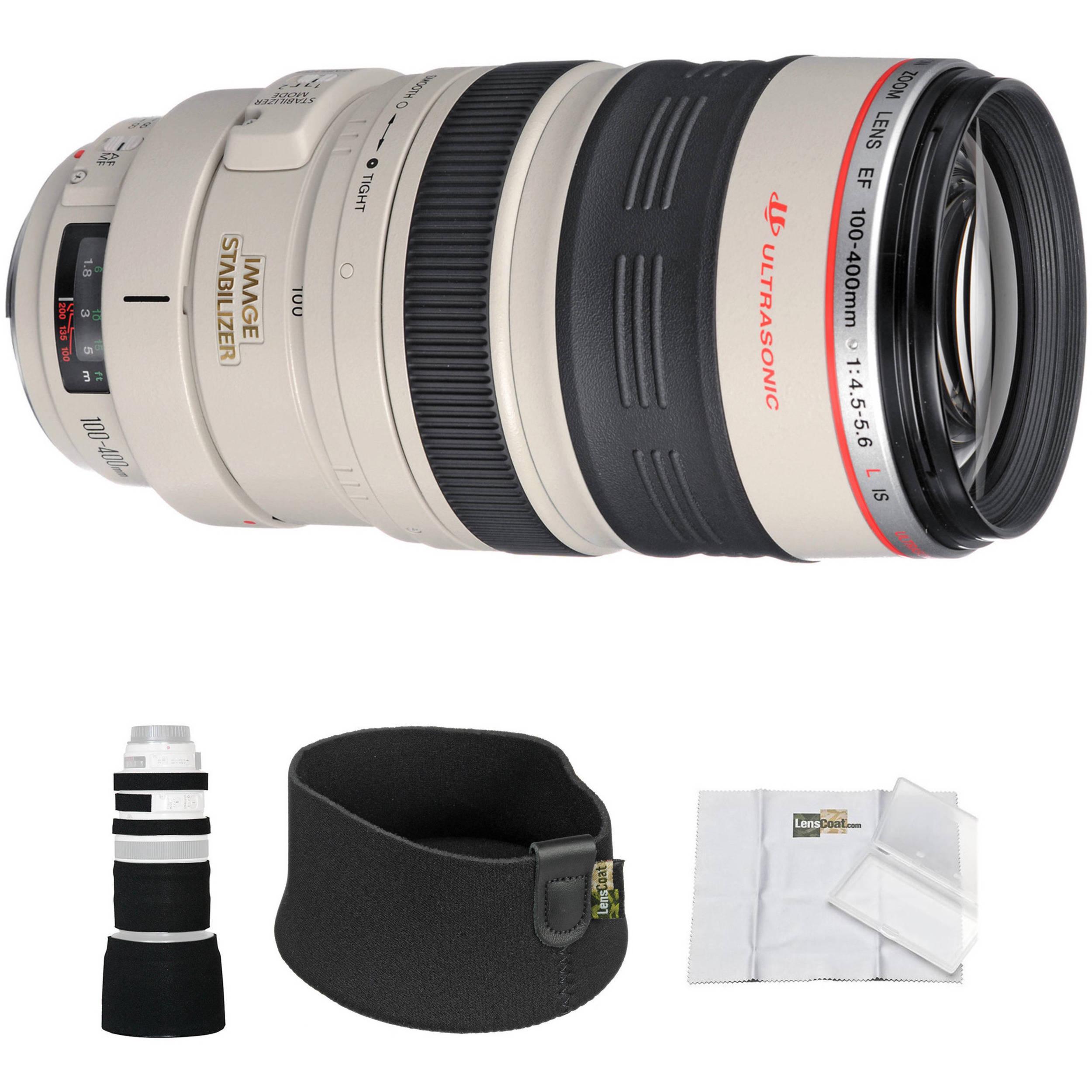 canon 100 400mm f 4 5 5 6l is ef usm lens with black lenscoat. Black Bedroom Furniture Sets. Home Design Ideas