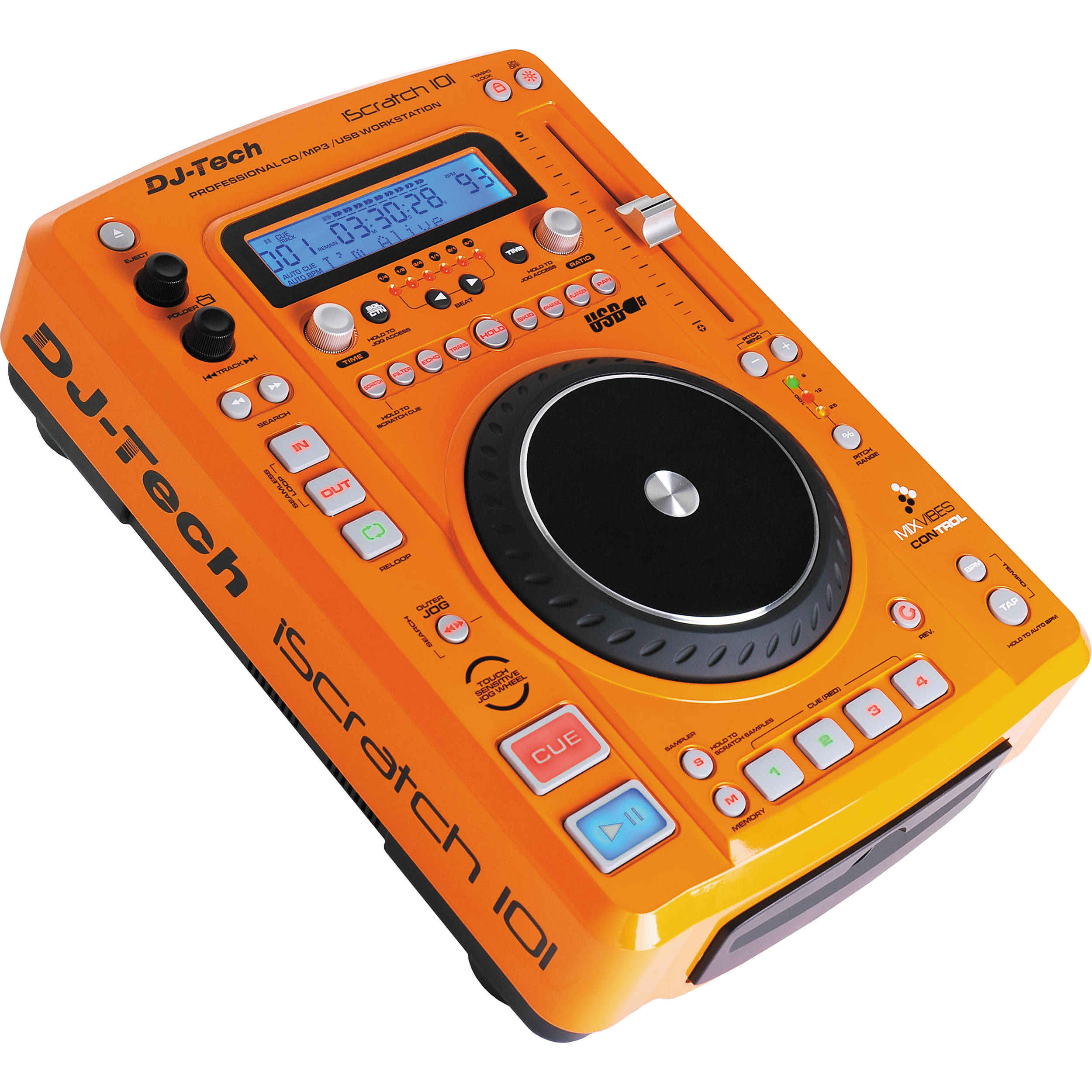 dj tech iscratch 101 dj cd player and usb iscratch 101 orange. Black Bedroom Furniture Sets. Home Design Ideas