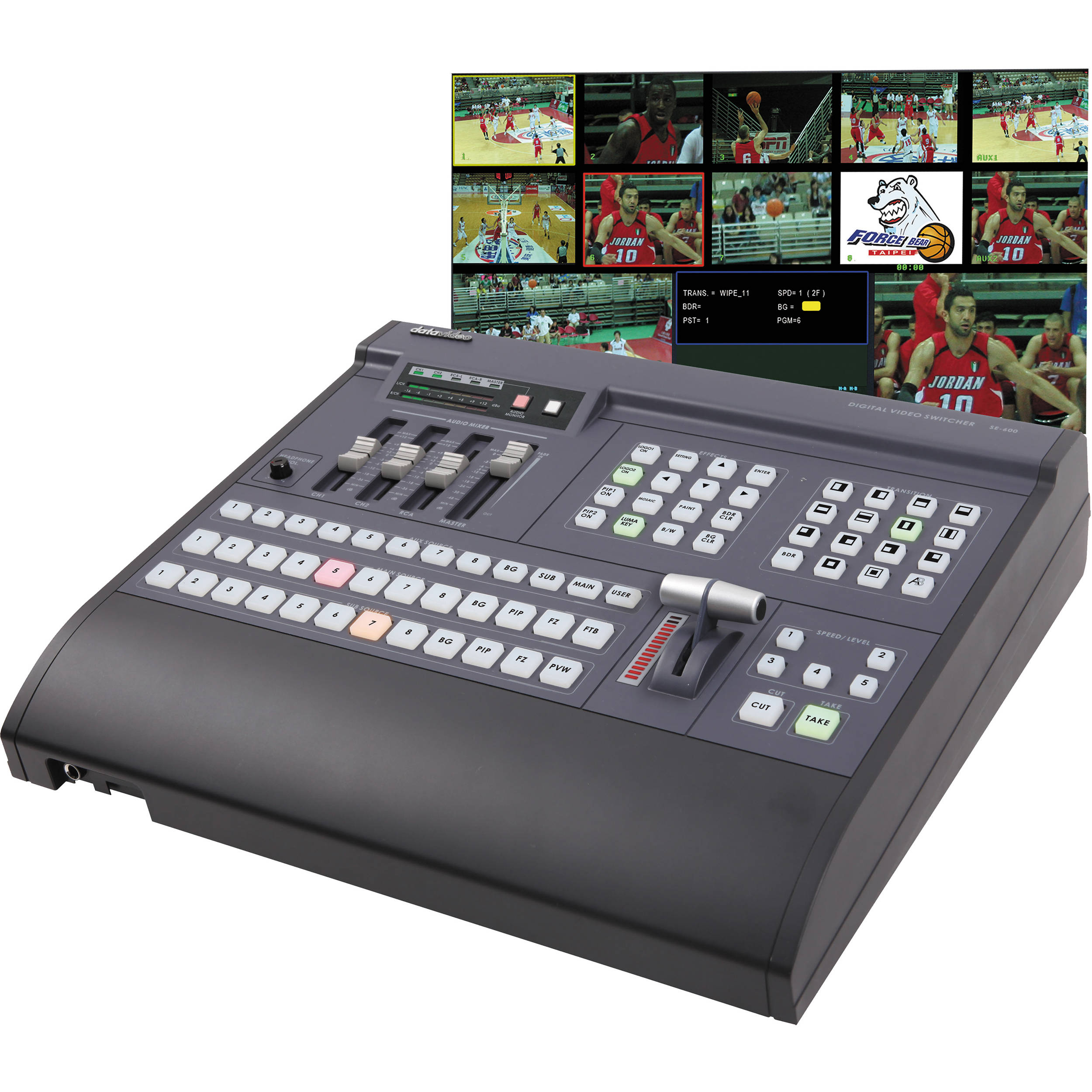 Datavideo Se 600 8 Input A V Switcher With Cv Dvi D Se600 Road Gear 1 Amplifier Head Cabinet Hitam