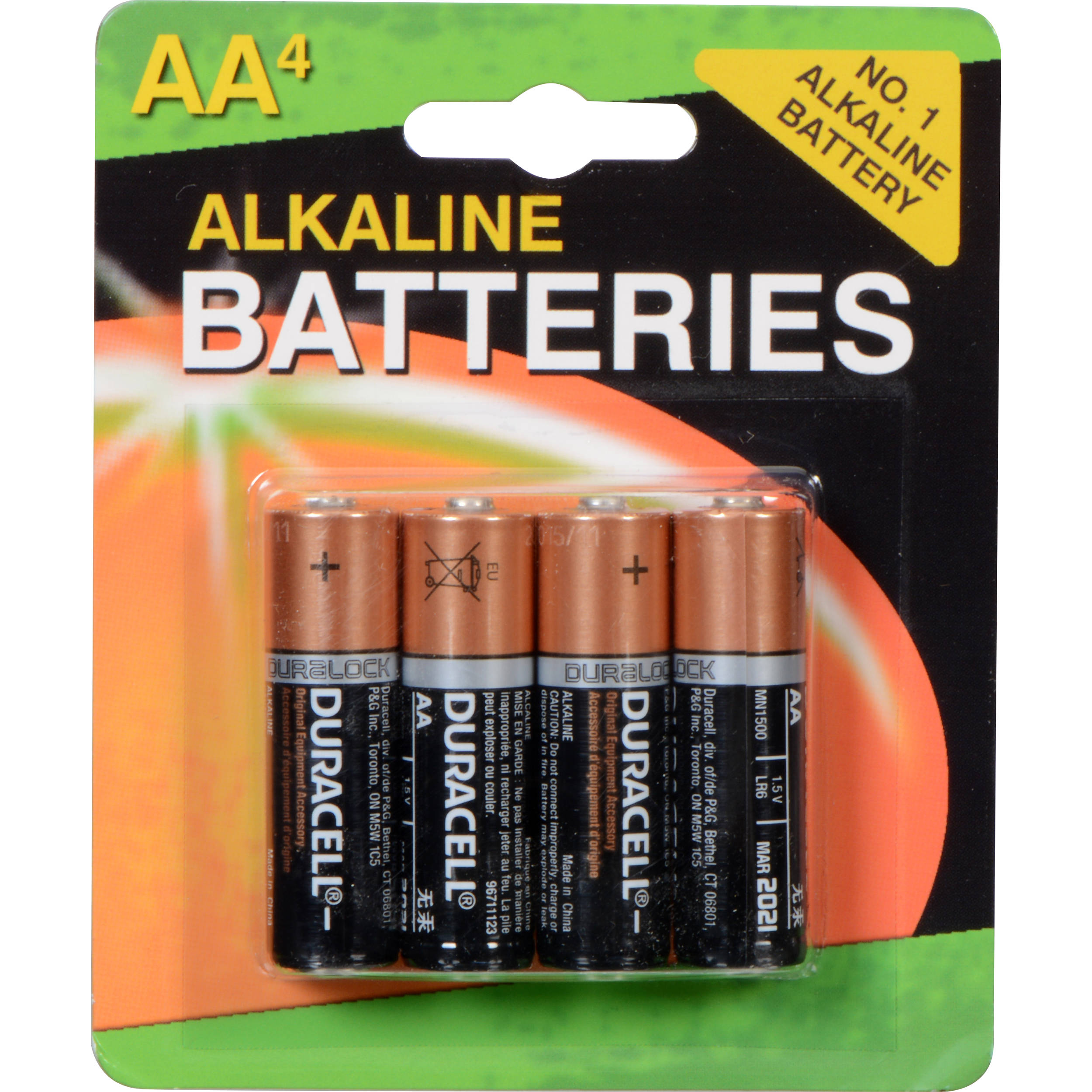 duracell 1 5v aa coppertop alkaline batteries 4 pack mn1500b4. Black Bedroom Furniture Sets. Home Design Ideas