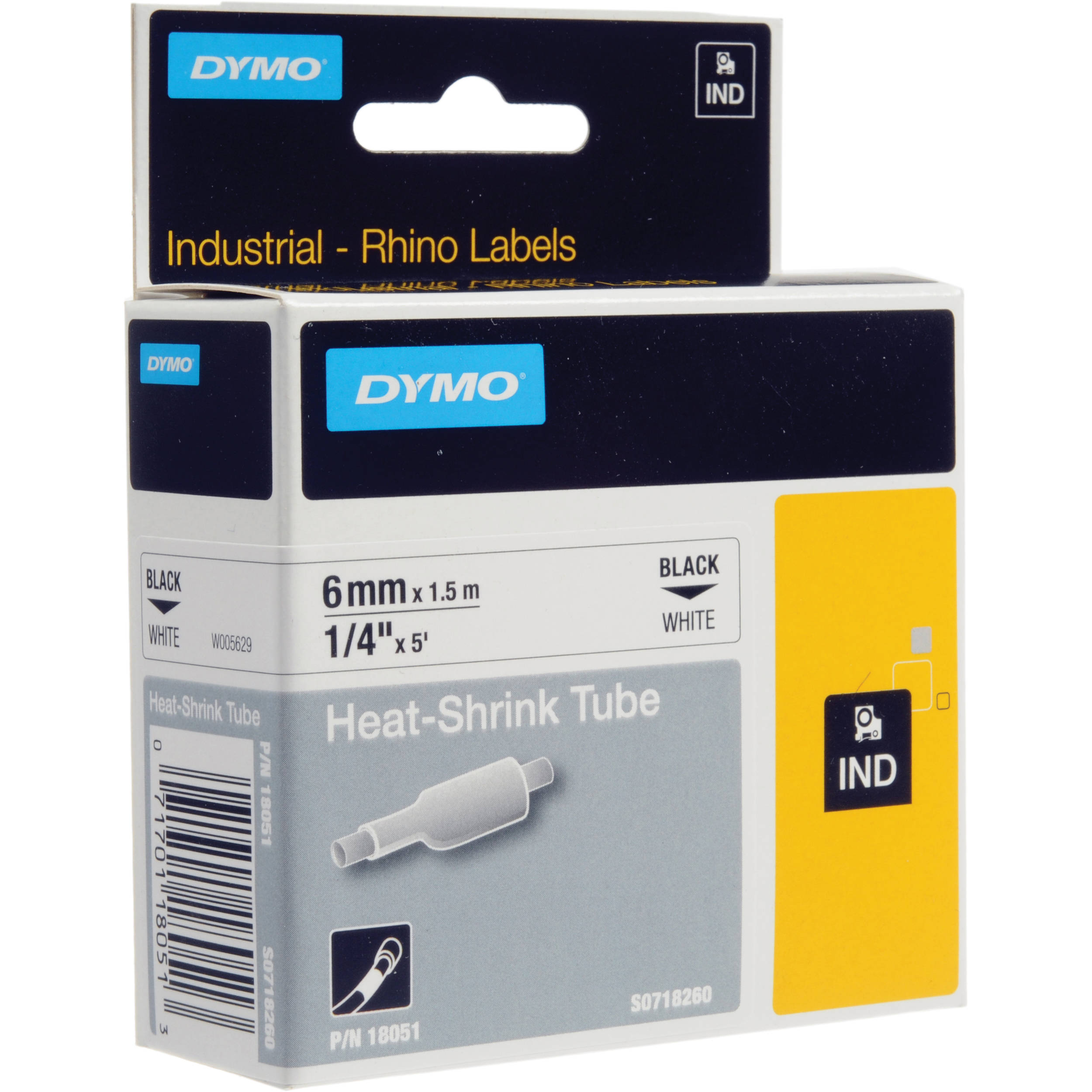 Dymo White 1 4 Heat Shrink Tubes 18051 Bh Photo Video Pipeelectric Wire Protection Tubeblack Vinyl Tube Buy Electric