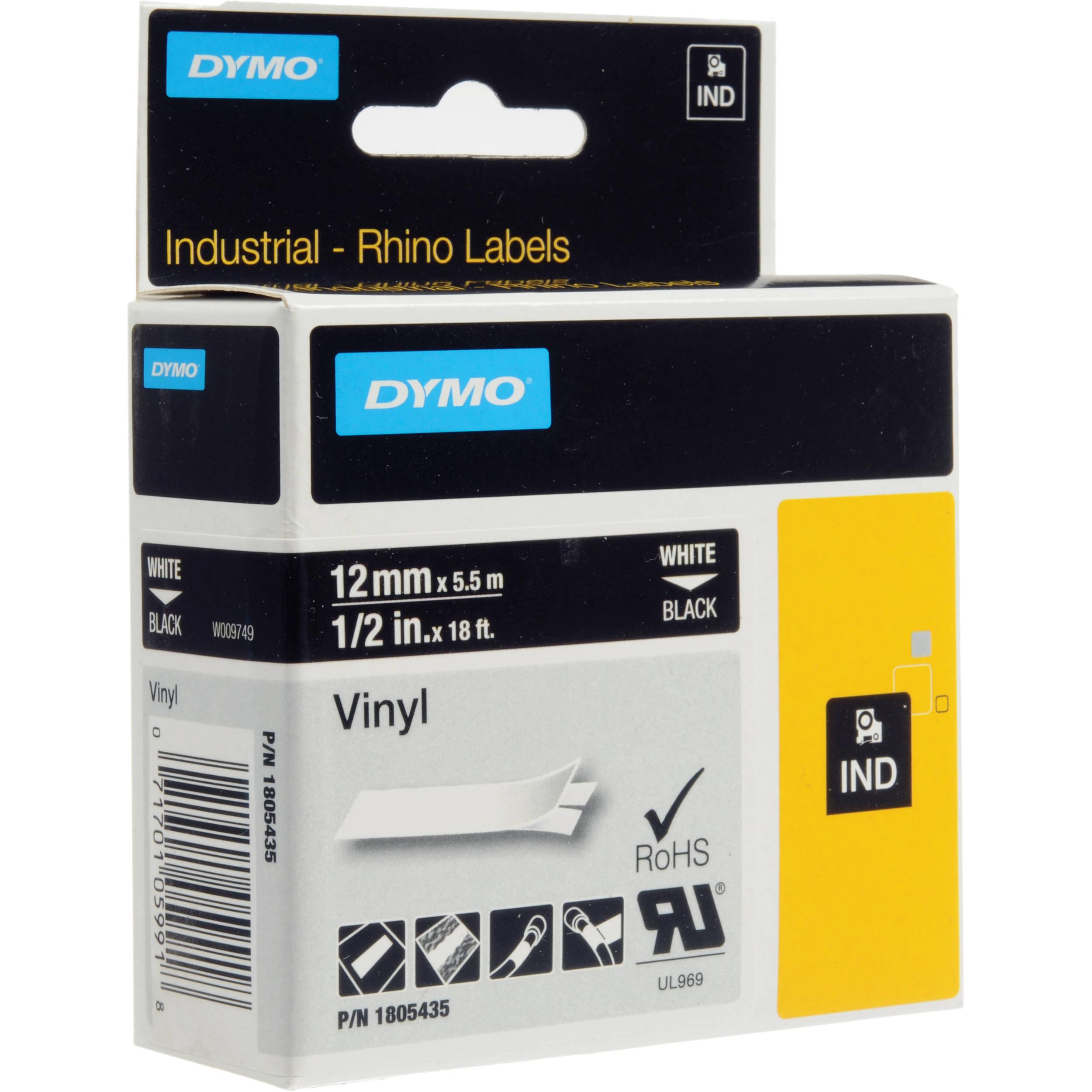 dymo rhino 1 2 black vinyl labels white print 1805435. Black Bedroom Furniture Sets. Home Design Ideas