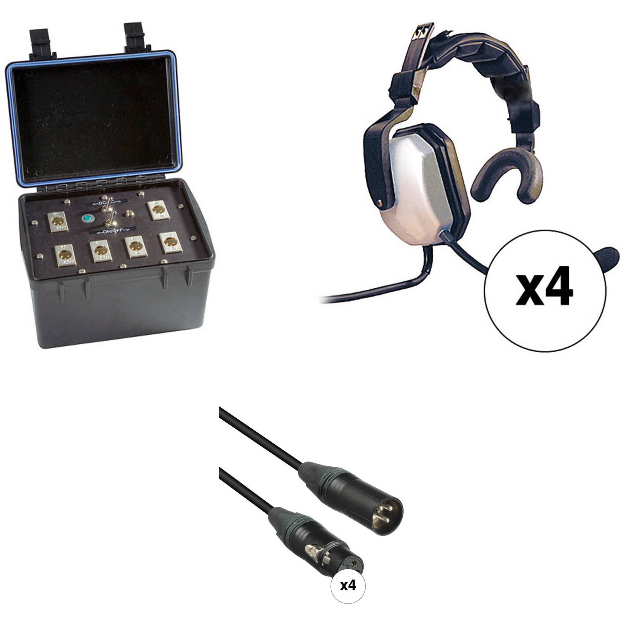 Eartec Four Person Wired Intercom System With Single Sided B Amp H