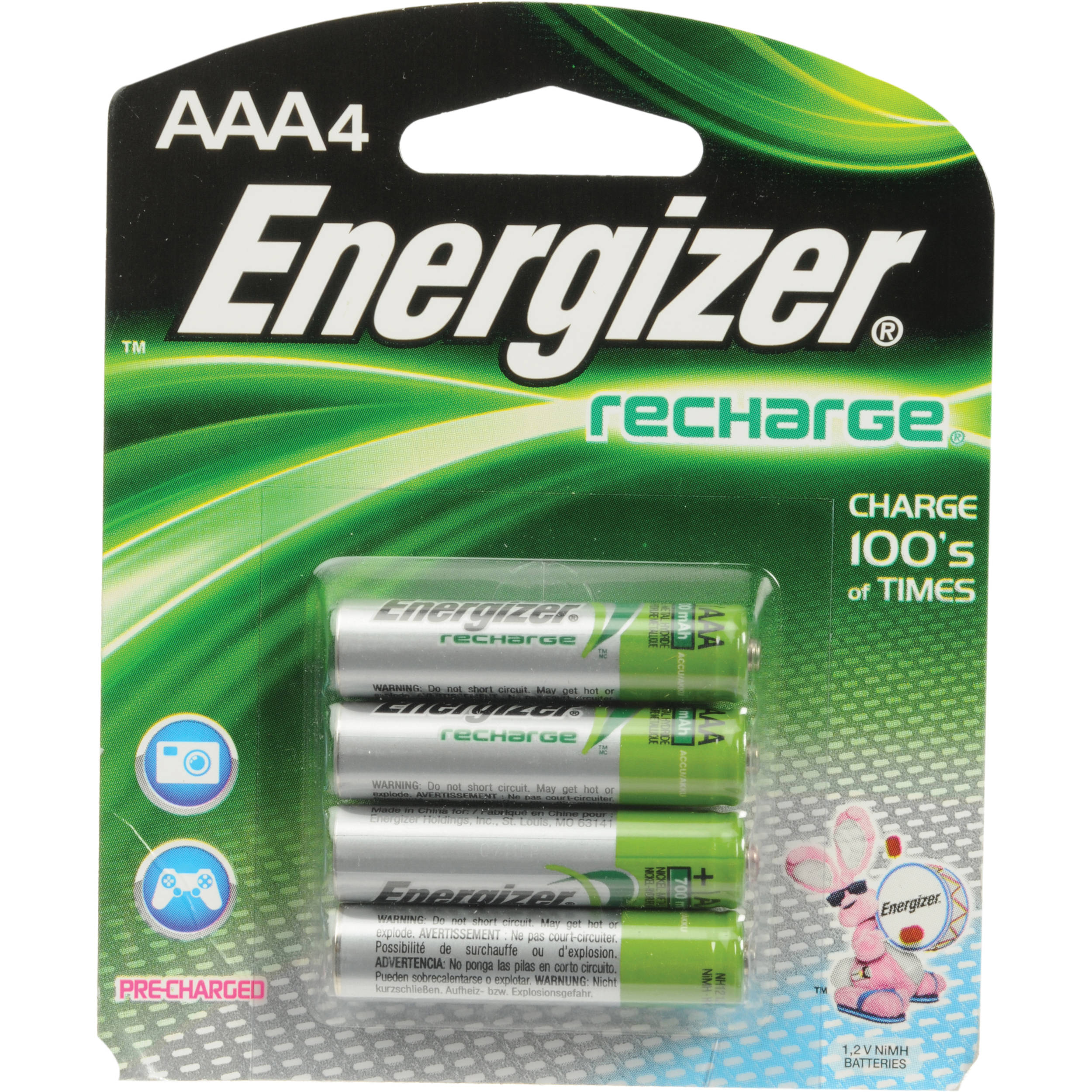 energizer aaa nimh rechargeable batteries unh12bp 4 b h photo. Black Bedroom Furniture Sets. Home Design Ideas