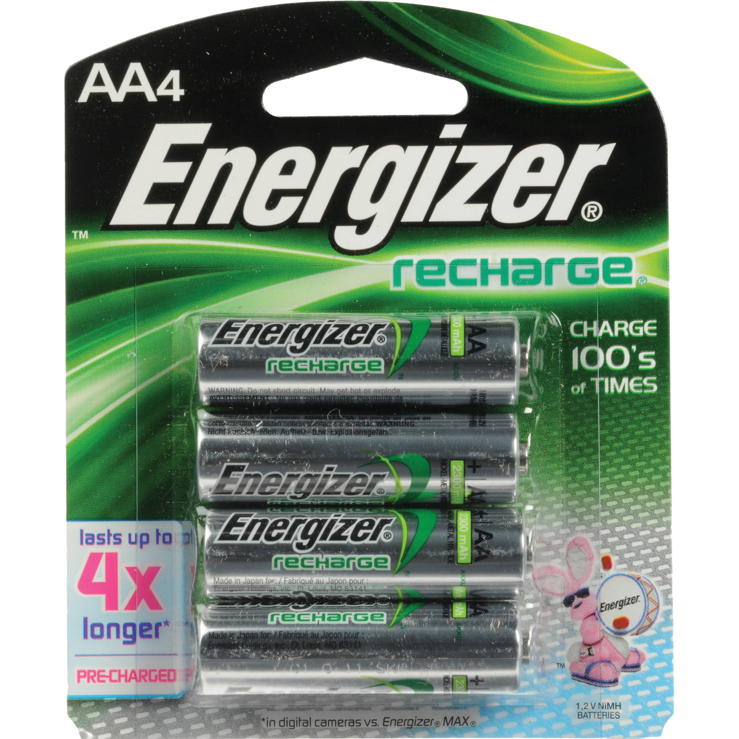 Energizer AA NiMH Rechargeable Batteries 2300mAh 4 Pack
