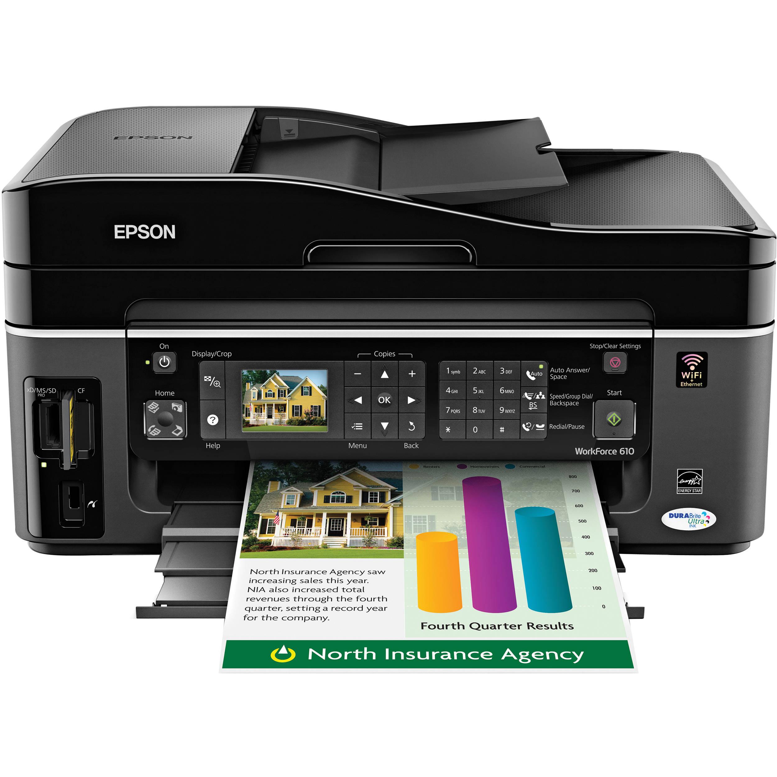 epson workforce 610 color all in one printer c11ca50201 b h rh bhphotovideo com Epson Workforce 500 Epson Workforce 610 Printer
