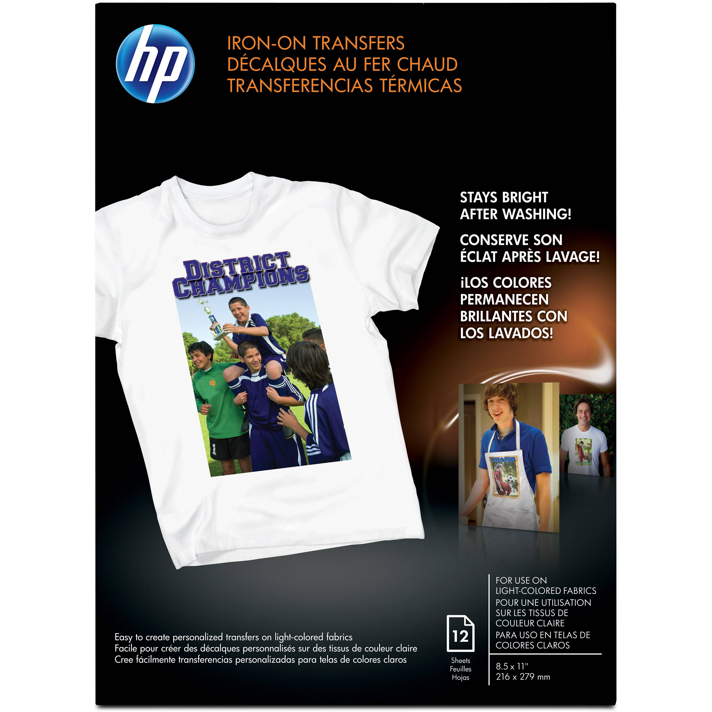 Hp iron on transfer paper 12 sheets c6049a b h for Iron on shirt paper