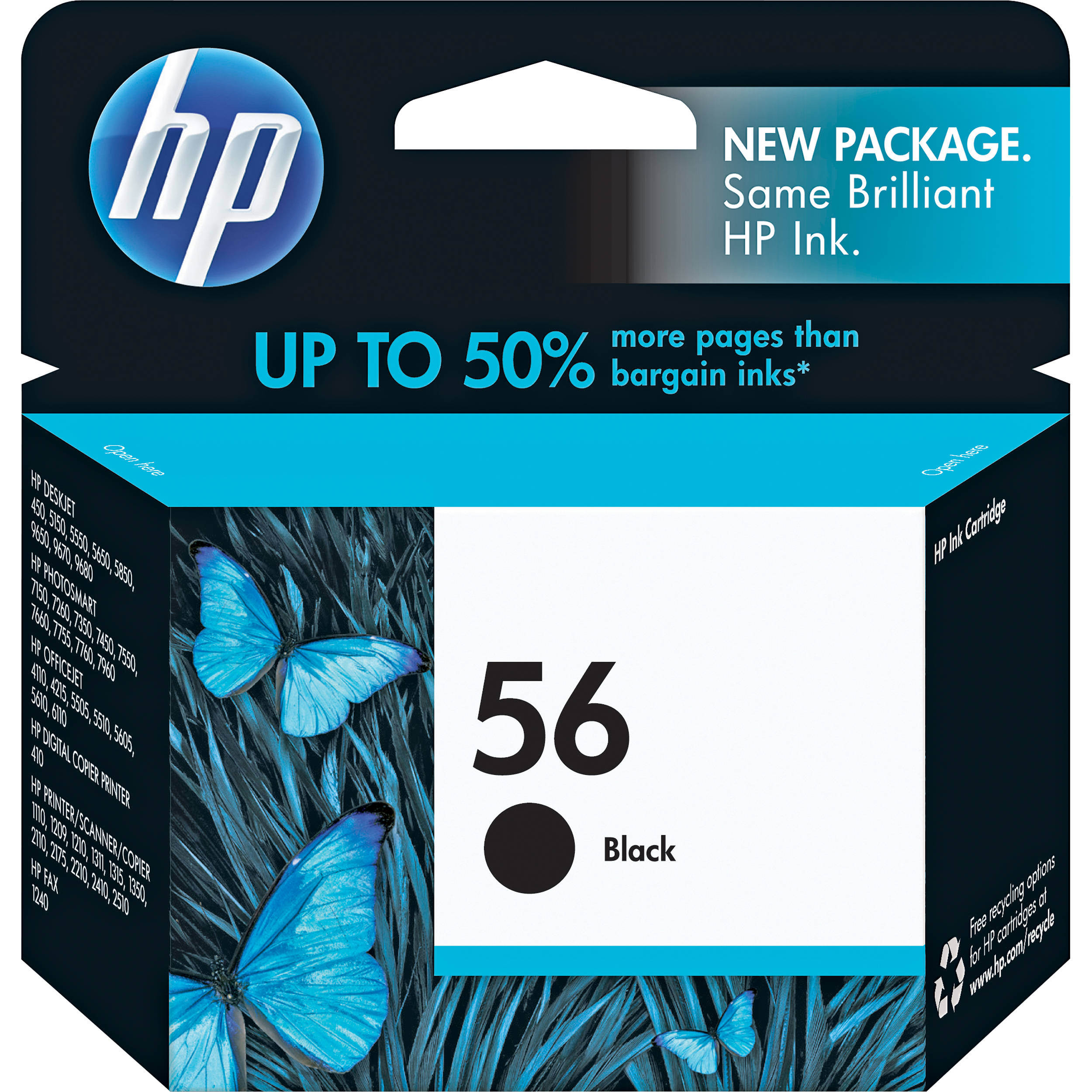 hp 56 black inkjet print cartridge 19ml c6656an 140 b h photo. Black Bedroom Furniture Sets. Home Design Ideas