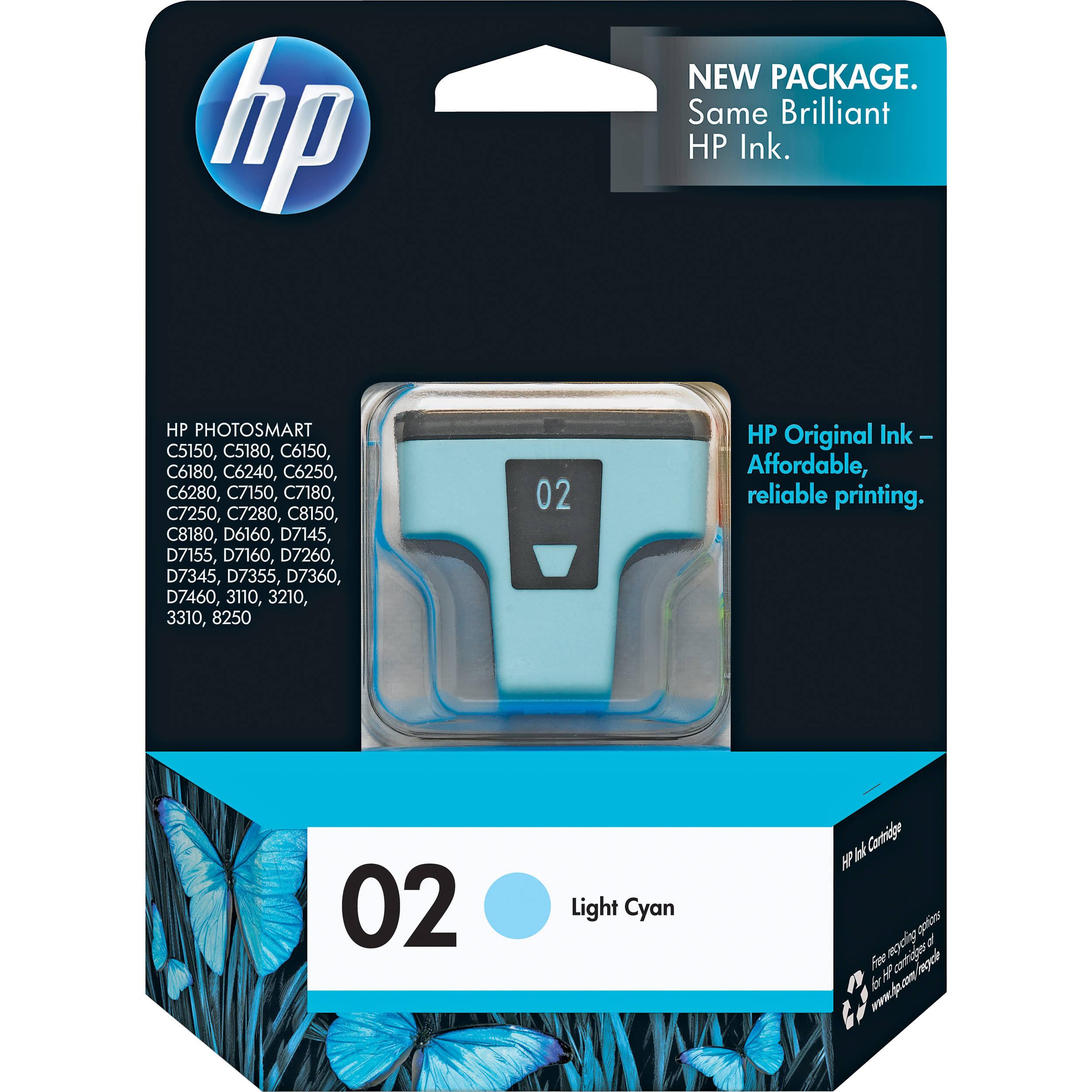 Hp 02 Light Cyan Inkjet Print Cartridge 5 5ml C8774wn B Amp H