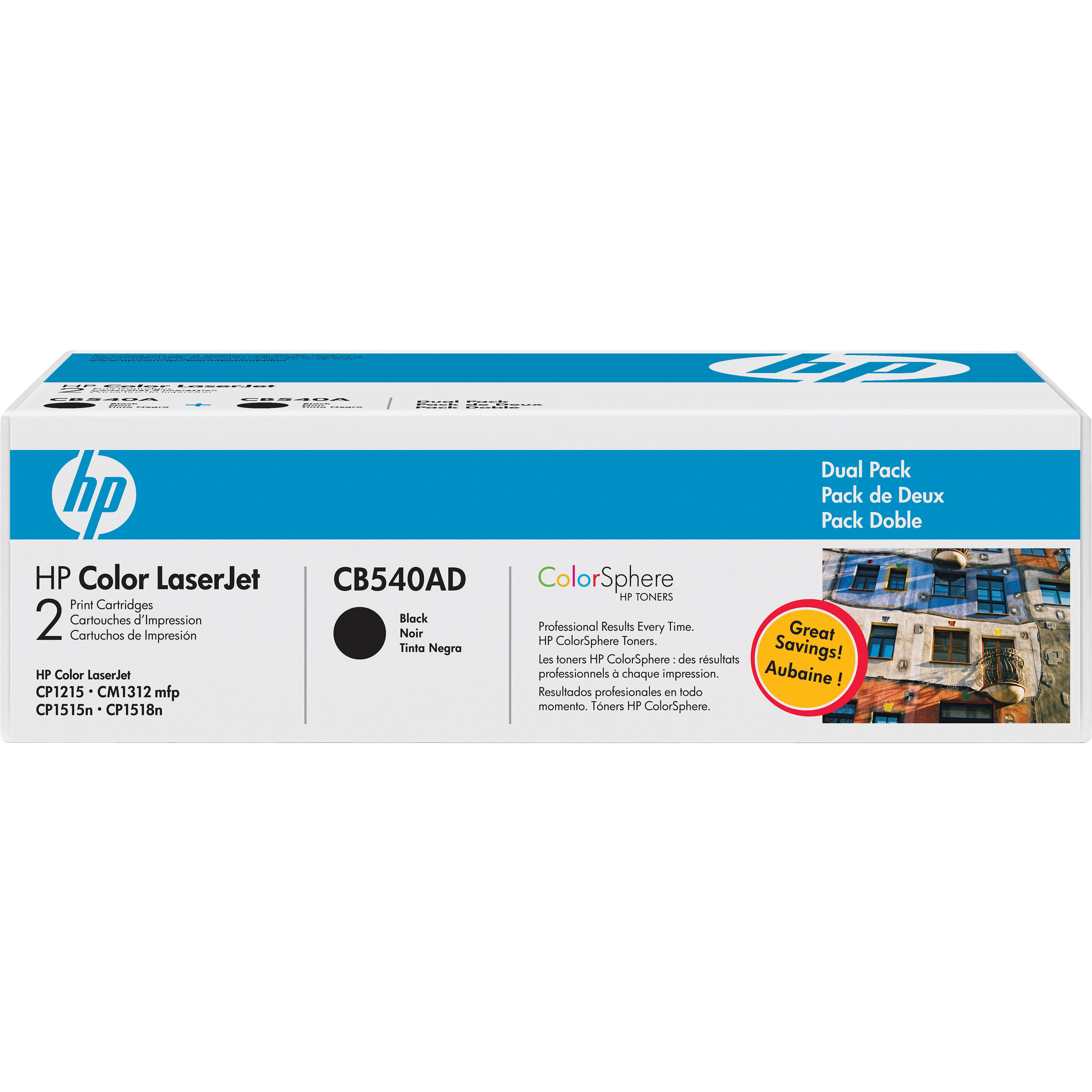 HP Color LaserJet 125A Black Toner Cartridge Dual Pack (CB540AD) 91da340425