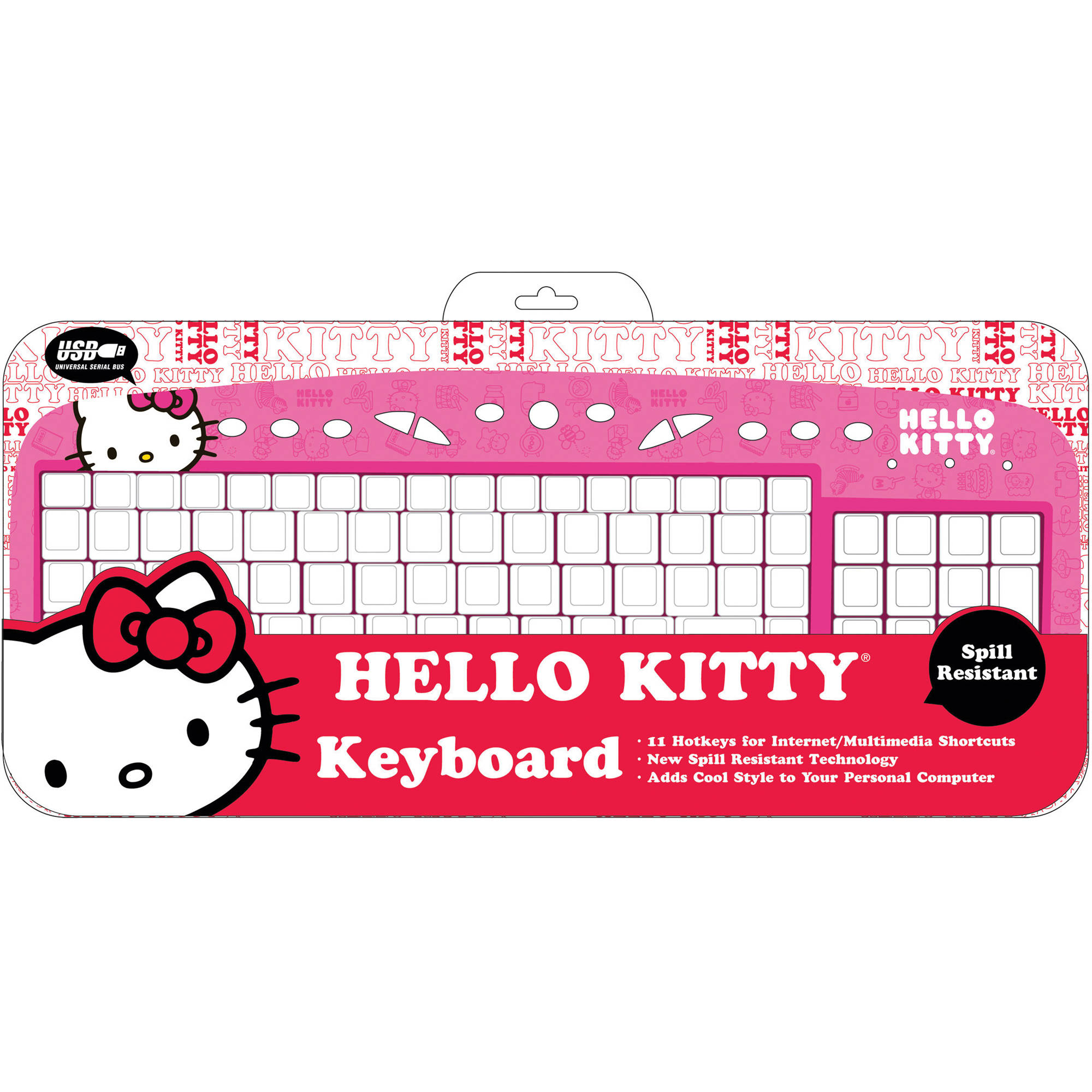 hello kitty hello kitty computer keyboard red 90309 red b h. Black Bedroom Furniture Sets. Home Design Ideas