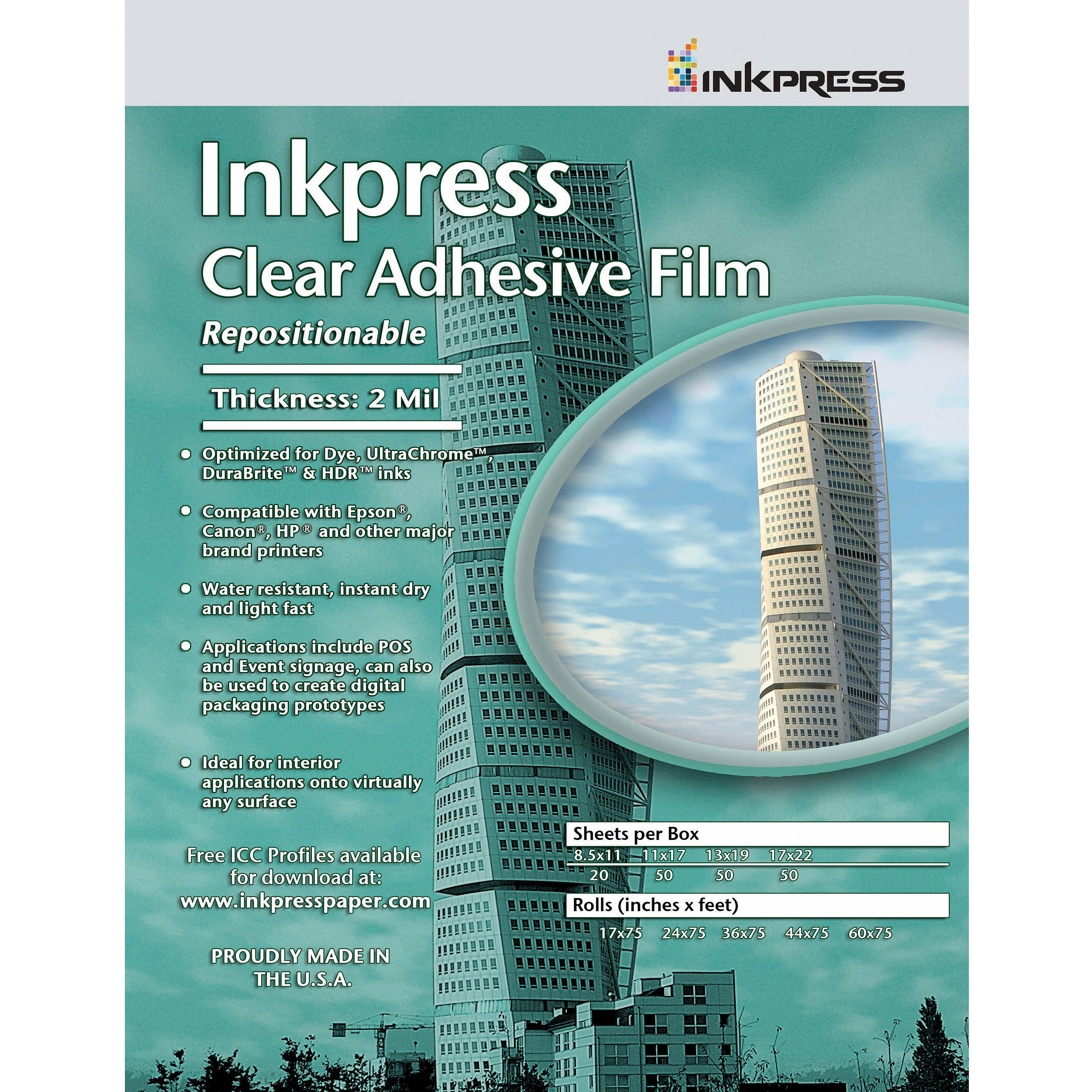 Inkpress Media Inkpress Clear Adhesive Film (8 5 x 11