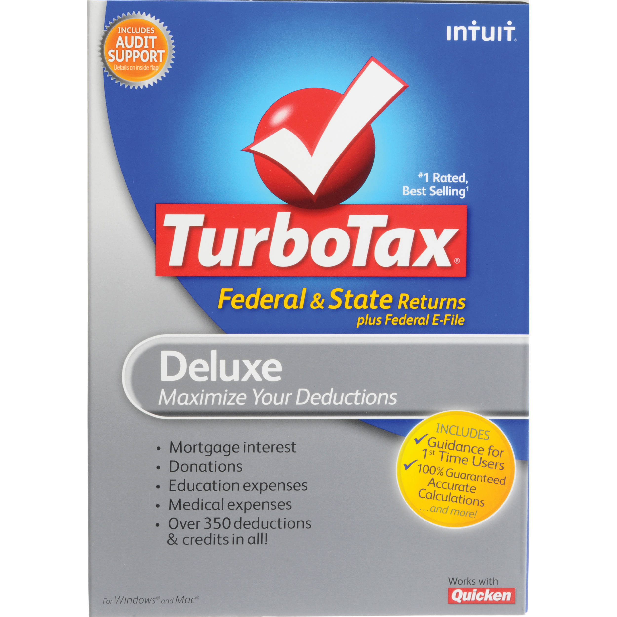Intuit Turbotax Deluxe Software Federalstate 414644 Bh Photo