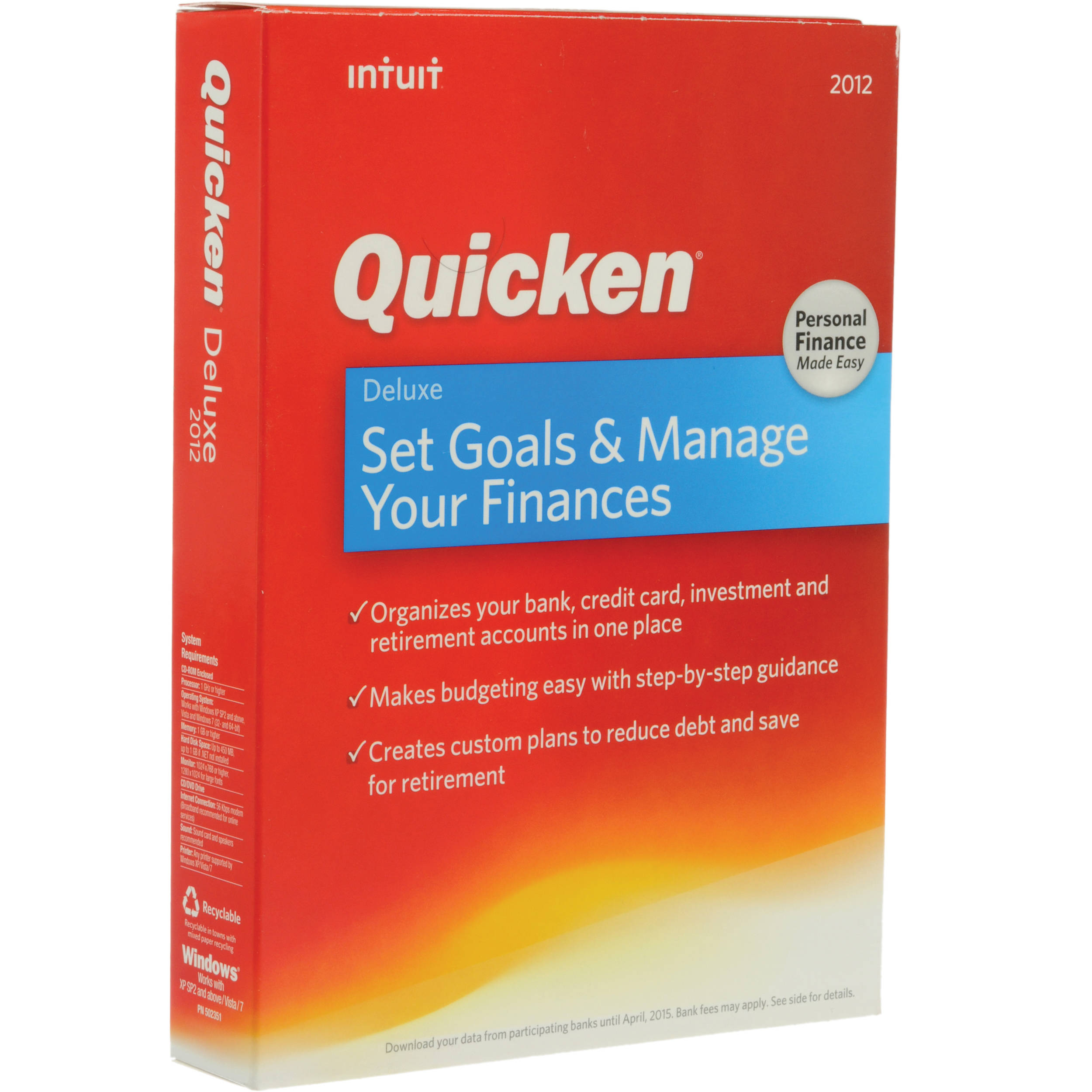 intuit quicken deluxe 2012 software 431325 b h photo video rh bhphotovideo com Quicken Go Special Quicken Deluxe 2011 System Requirements