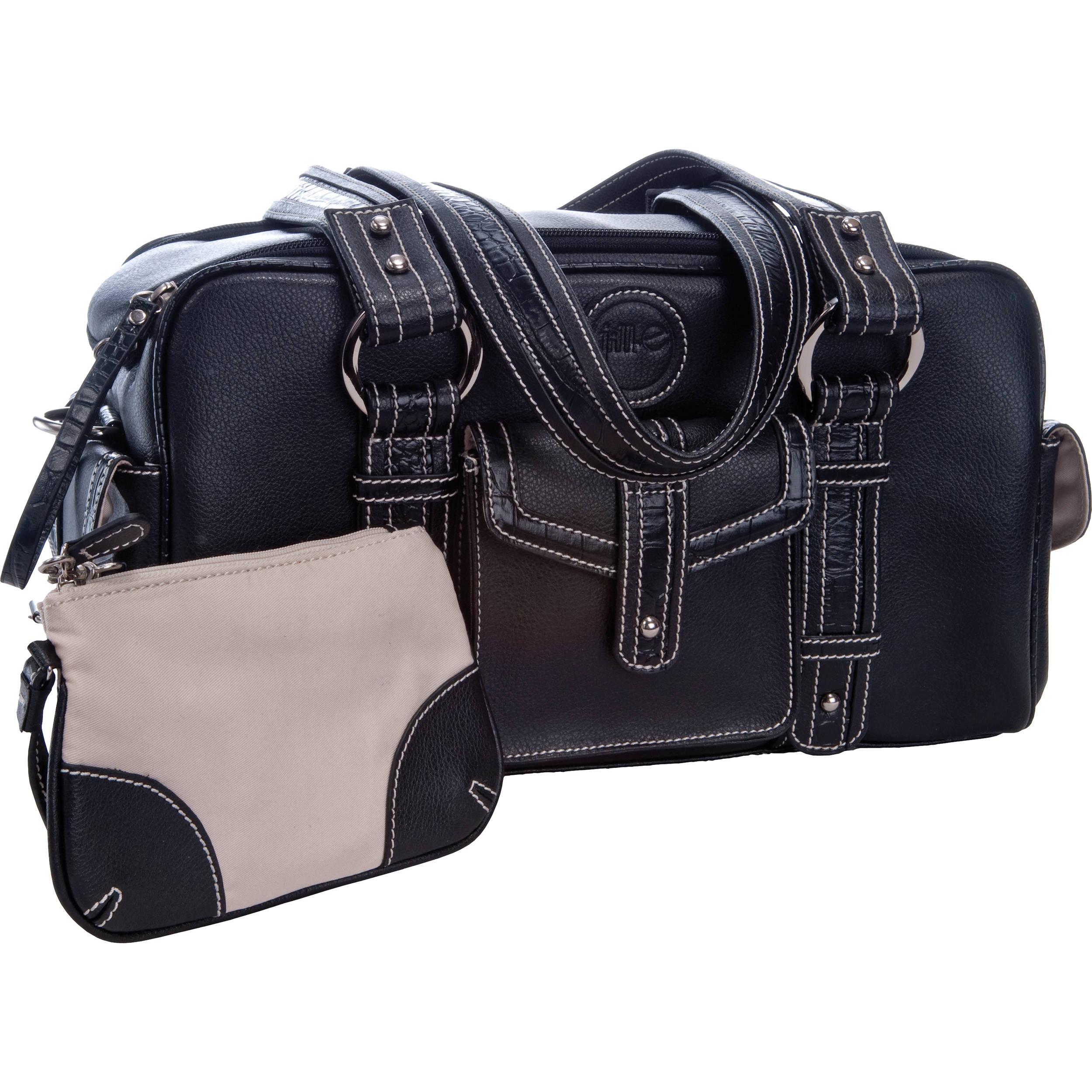 Jill E Designs Small Camera Bag Black With Croc Trim