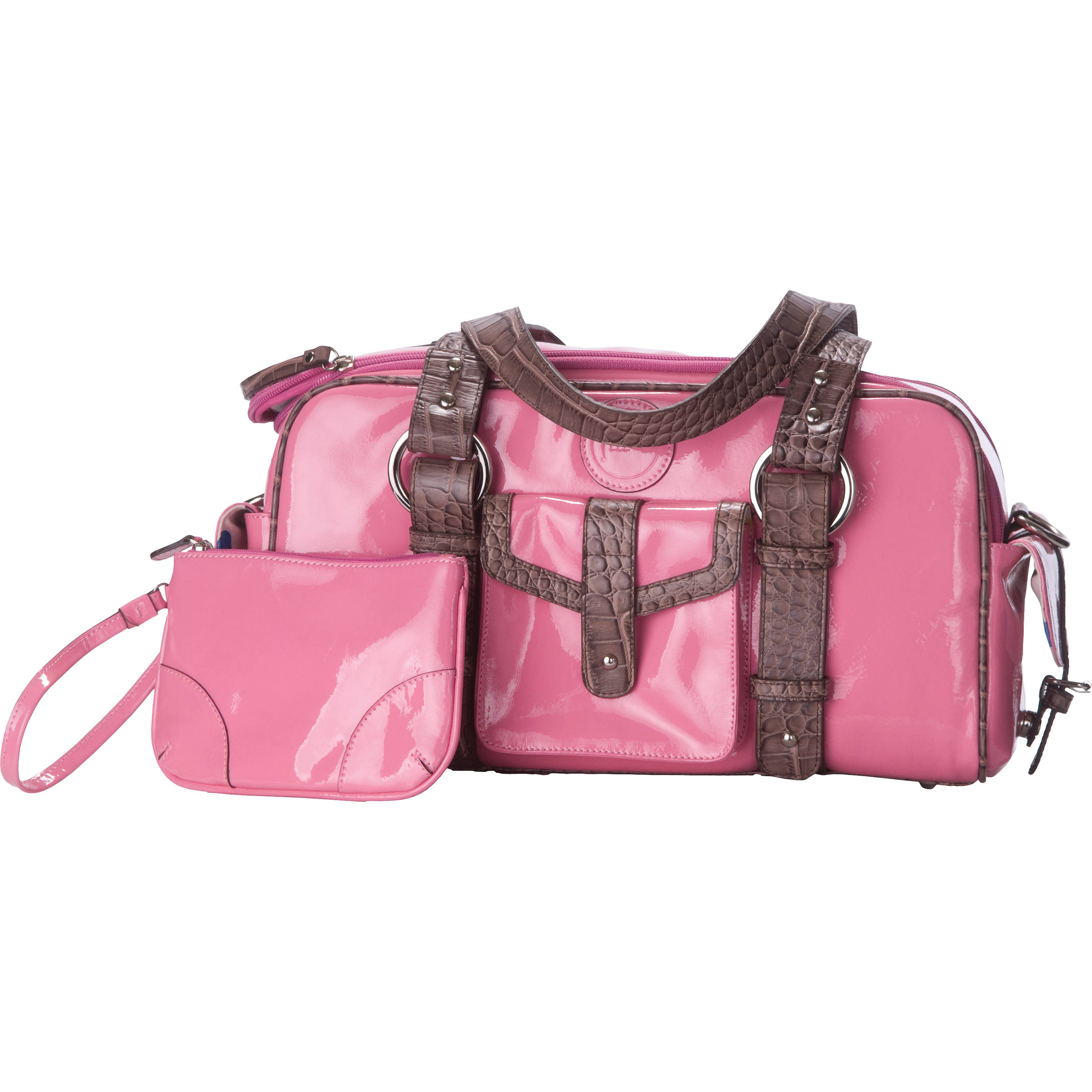 Jill E Designs Small Camera Bag Pink With Brown Trim