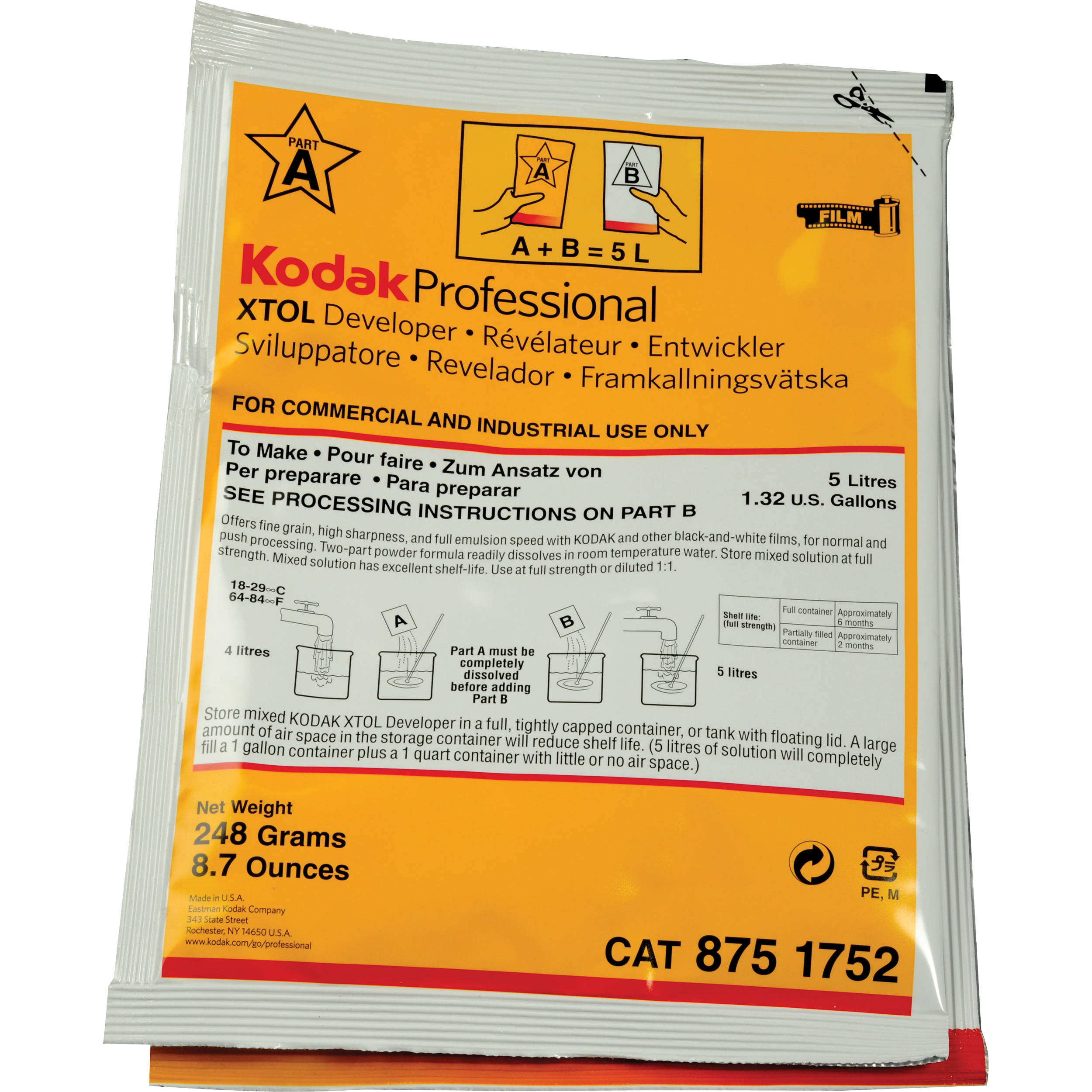 Kodak Professional Xtol Black And White Film Developer 5160361 Pot 2 Temps Pro Circuit Works Pieces Moto Cross Diffusion To Make 5 L