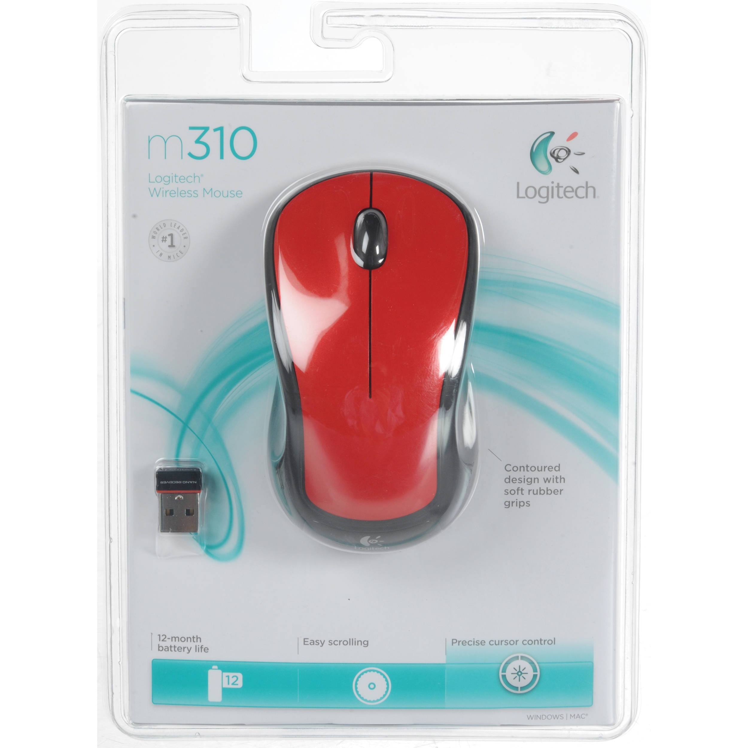 fb392e888ab Logitech M310 Wireless Mouse (Glossy Red) 910-002486 B&H Photo