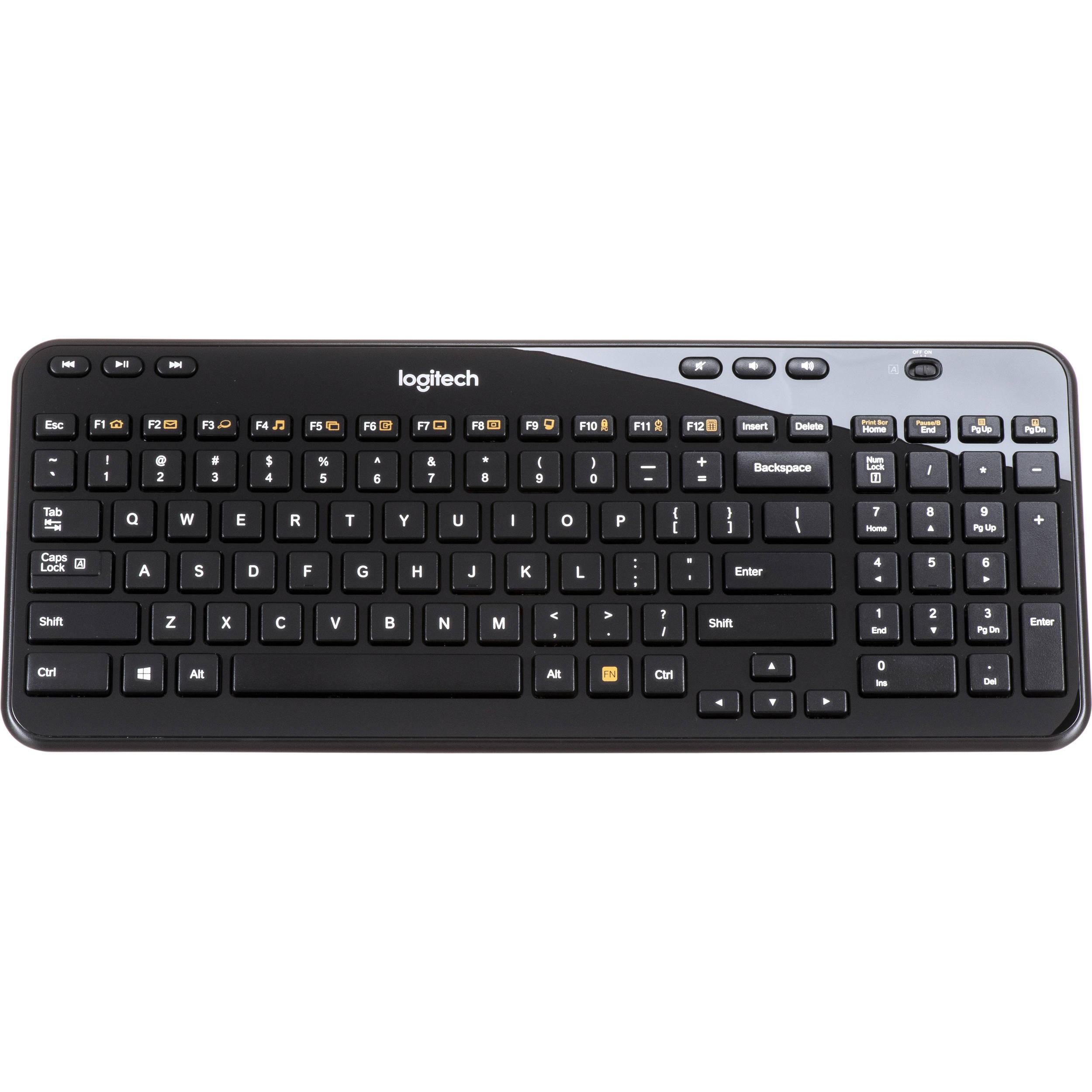 bc55fdcfe31 Logitech K360 Wireless Keyboard (Glossy Black) 920-004088 B&H