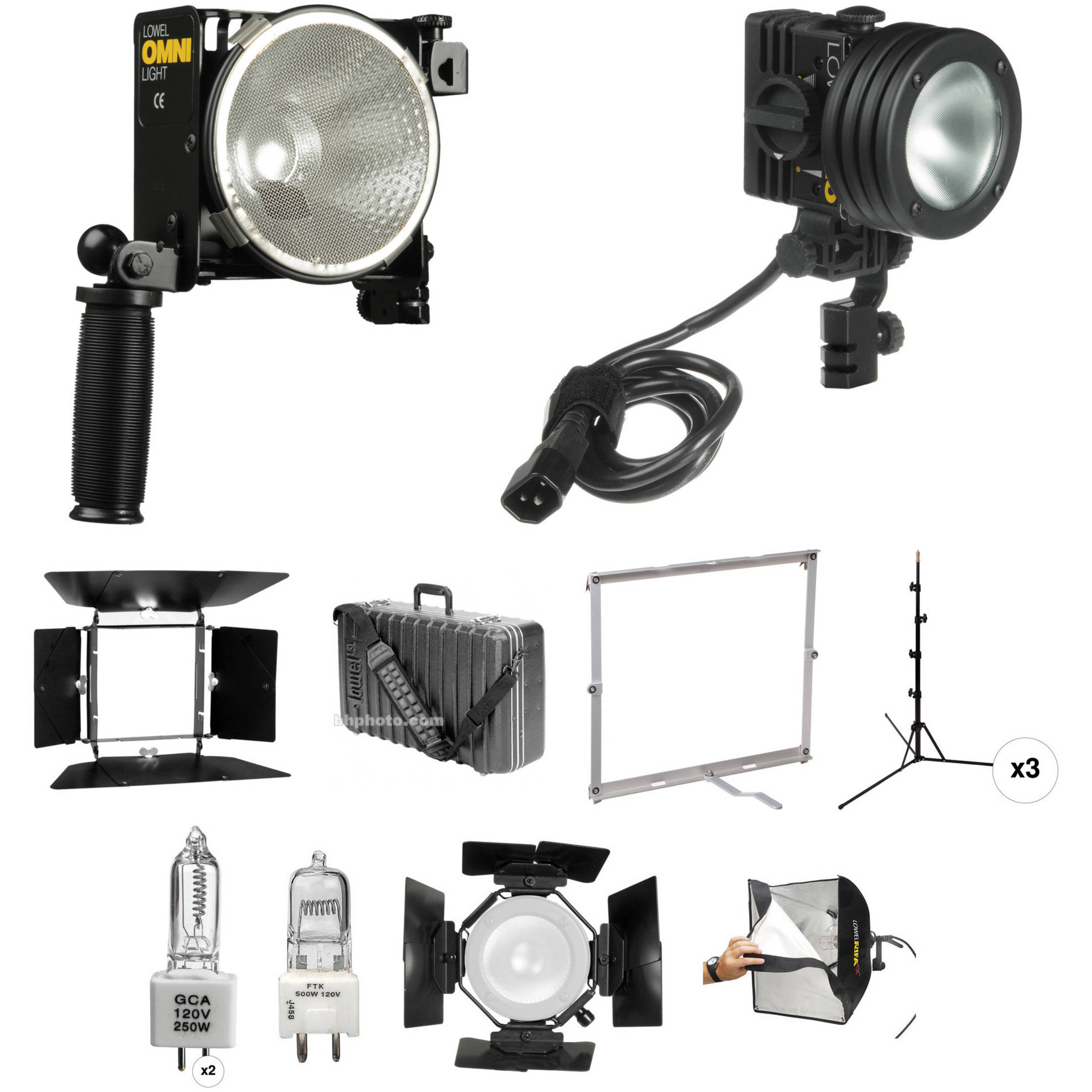 Lowel Omni Light, Pro Light, Rifa EX Three Light Kit