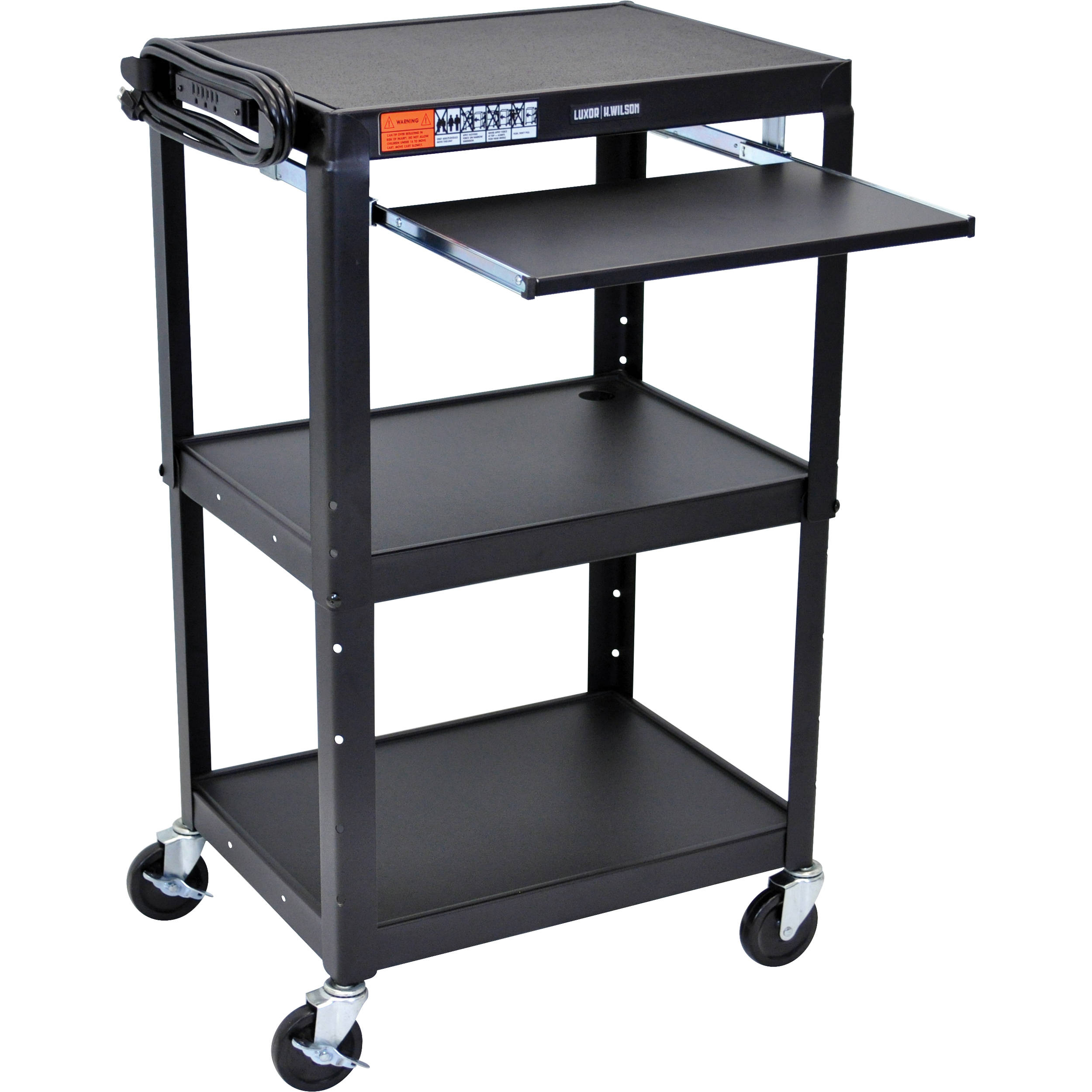Luxor Avj42kb Steel Adjule A V Cart With Pull Out Keyboard Tray Black