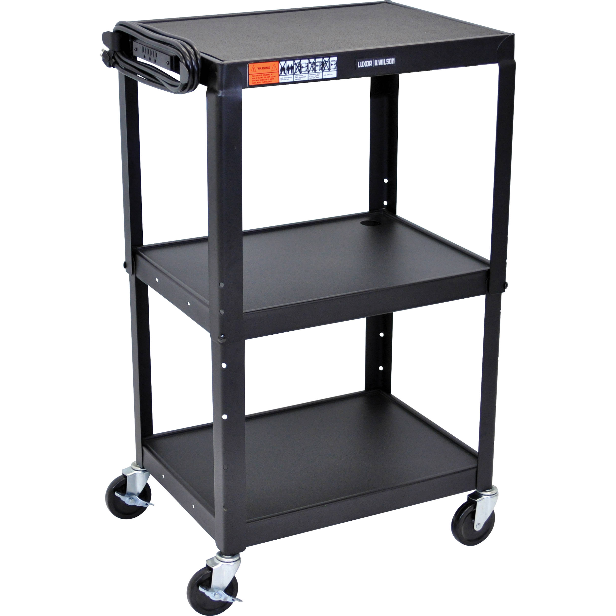 Luxor Steel Adjustable Height Av Cart With Three Shelves Avj42